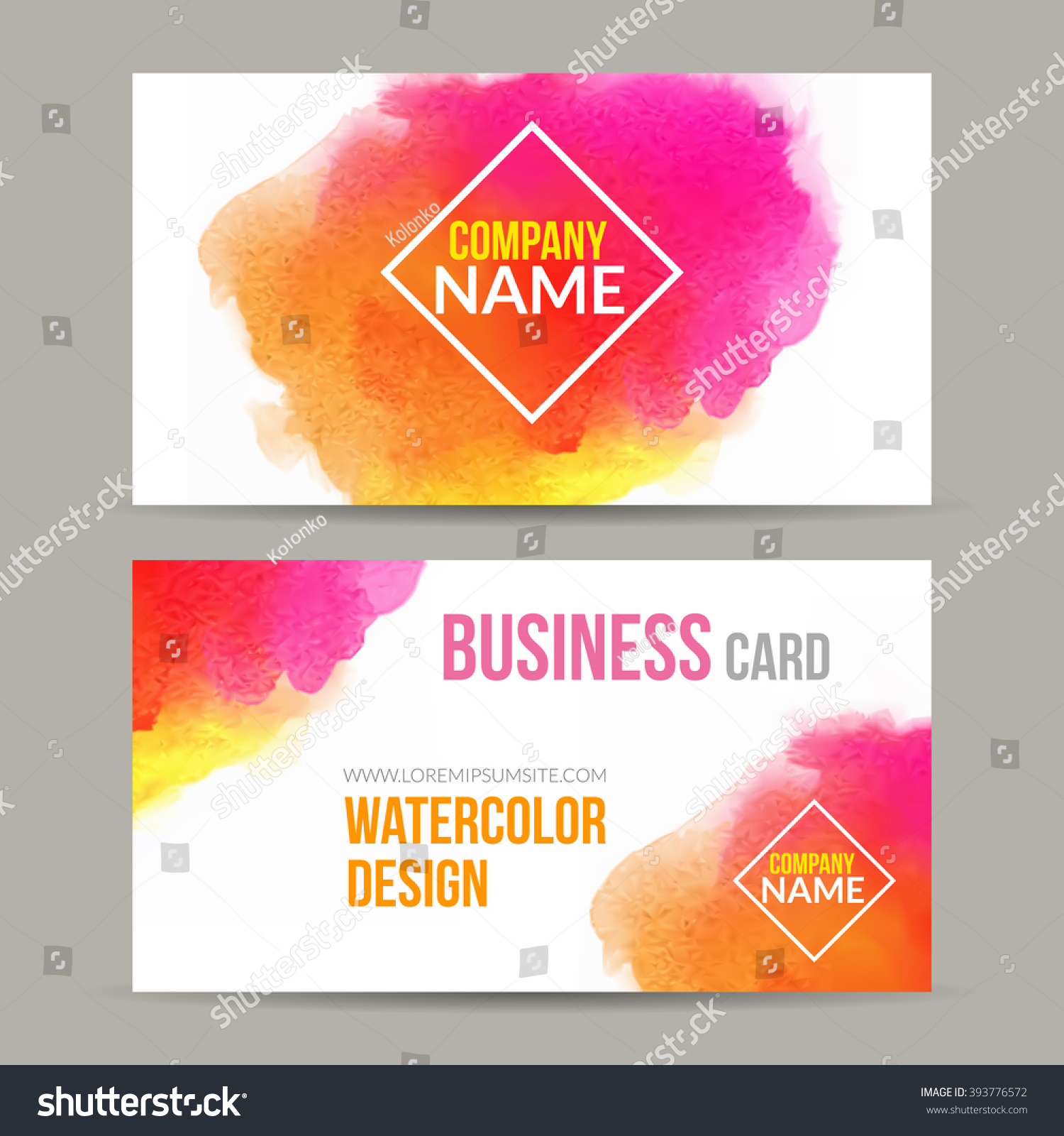 Vector Business Cards Template Watercolor Paint Stock Vector - Painter business card template