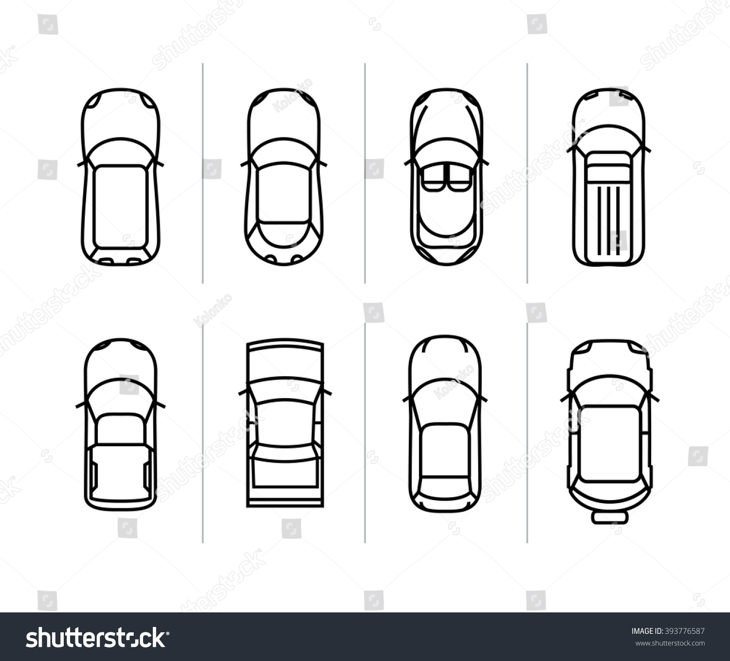 Car top view outline vector 15