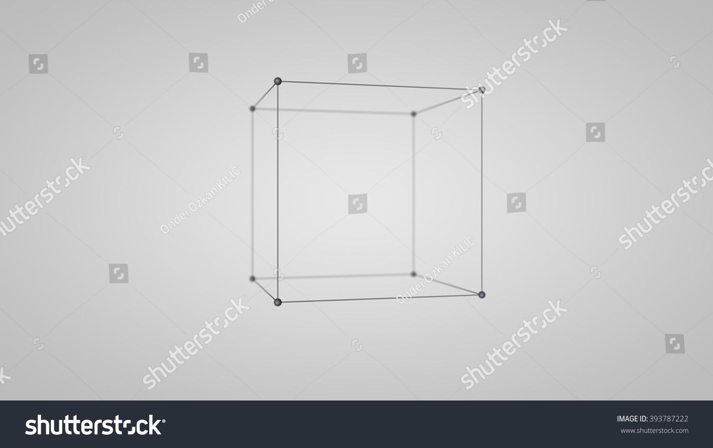 Wireframe Mesh Polygonal Cube Square Shape Stock Illustration ...