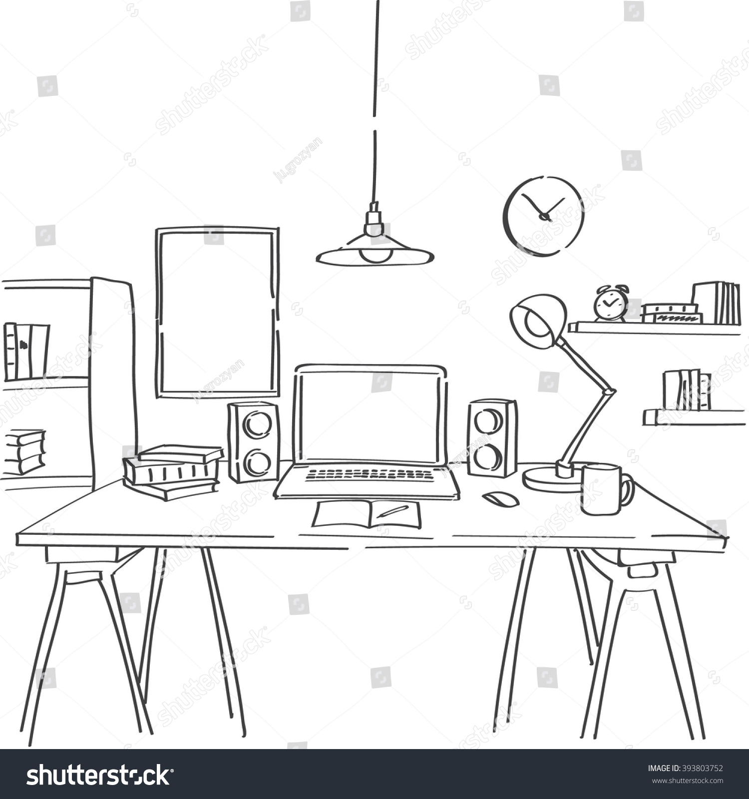 Table lamp for drawing - Hand Drawn Sketch Of Modern Workspace With Work Table Lamp Clock And Picture On