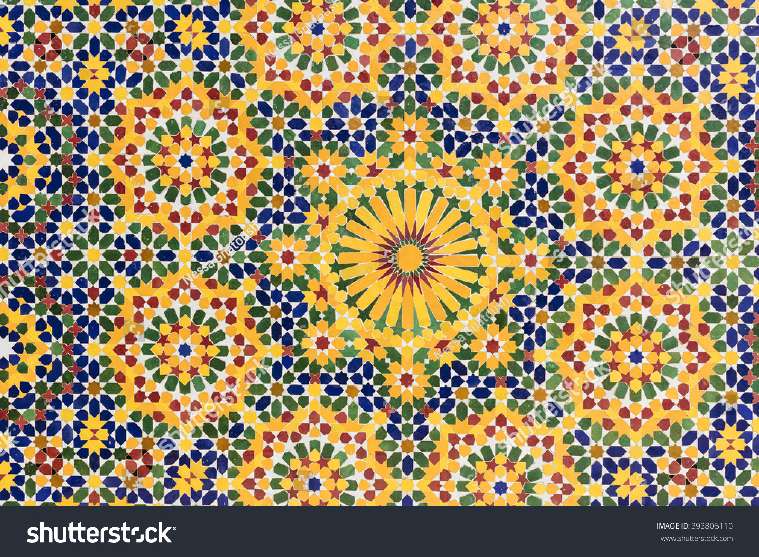 Colorful Tile Pattern Zellige Mosque Wall Stock Photo (Royalty Free ...