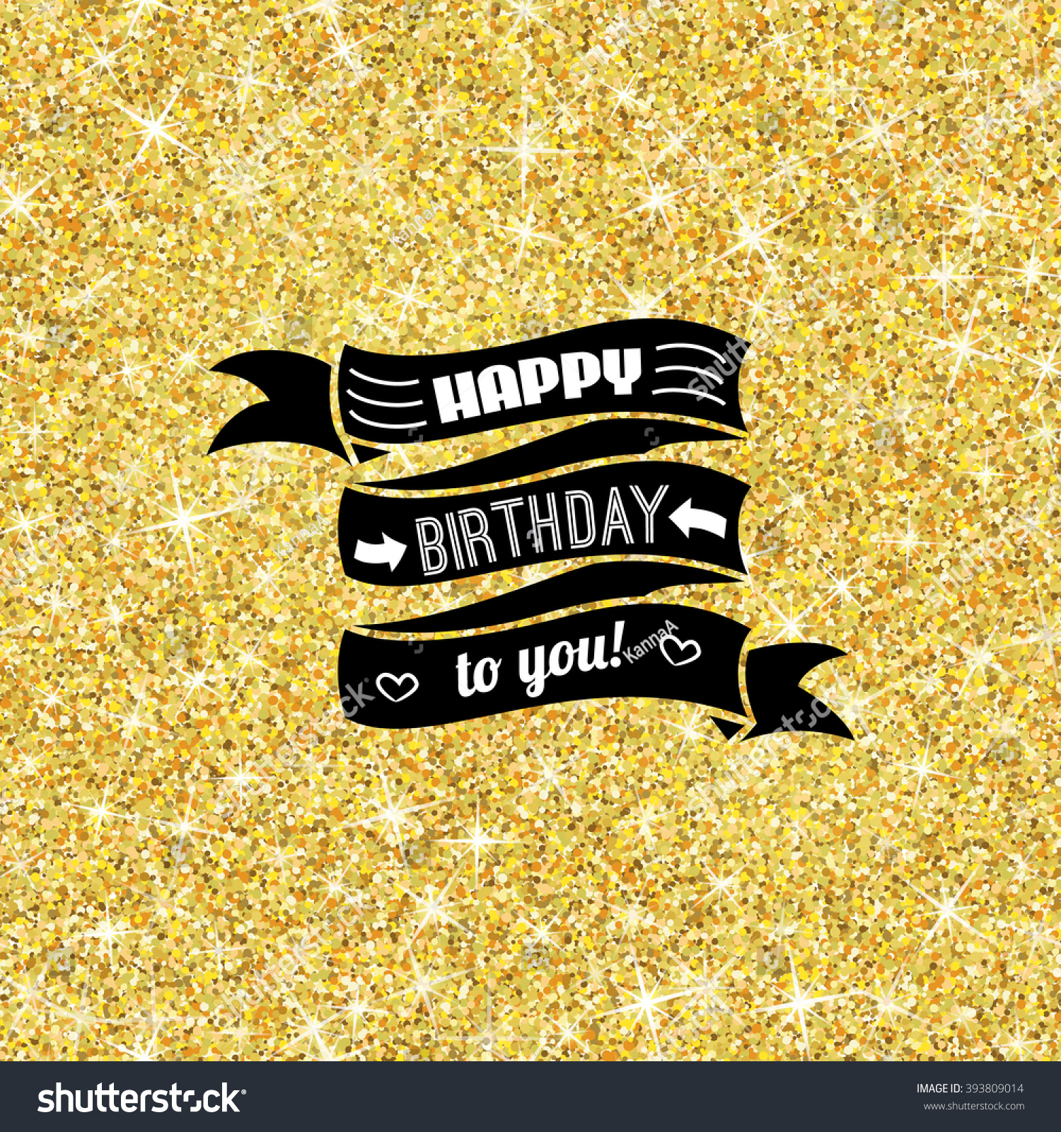 Happy birthday sign in elegant black script type with ornament - Perfect Happy Birthday Template With Golden Confetti Theme Ideal For Save The Date Baby