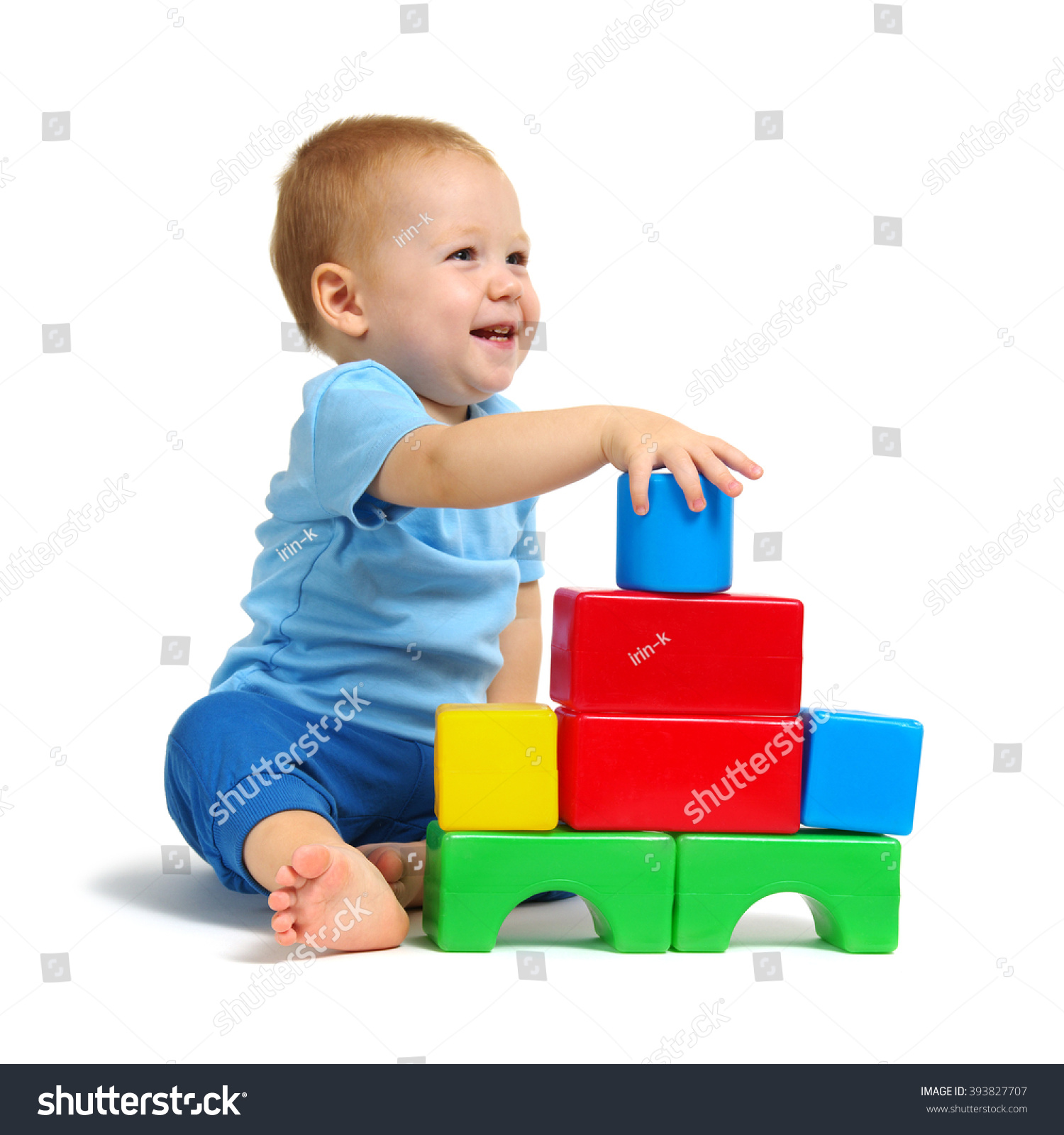 Little Boy Playing Toy Isolated Stock