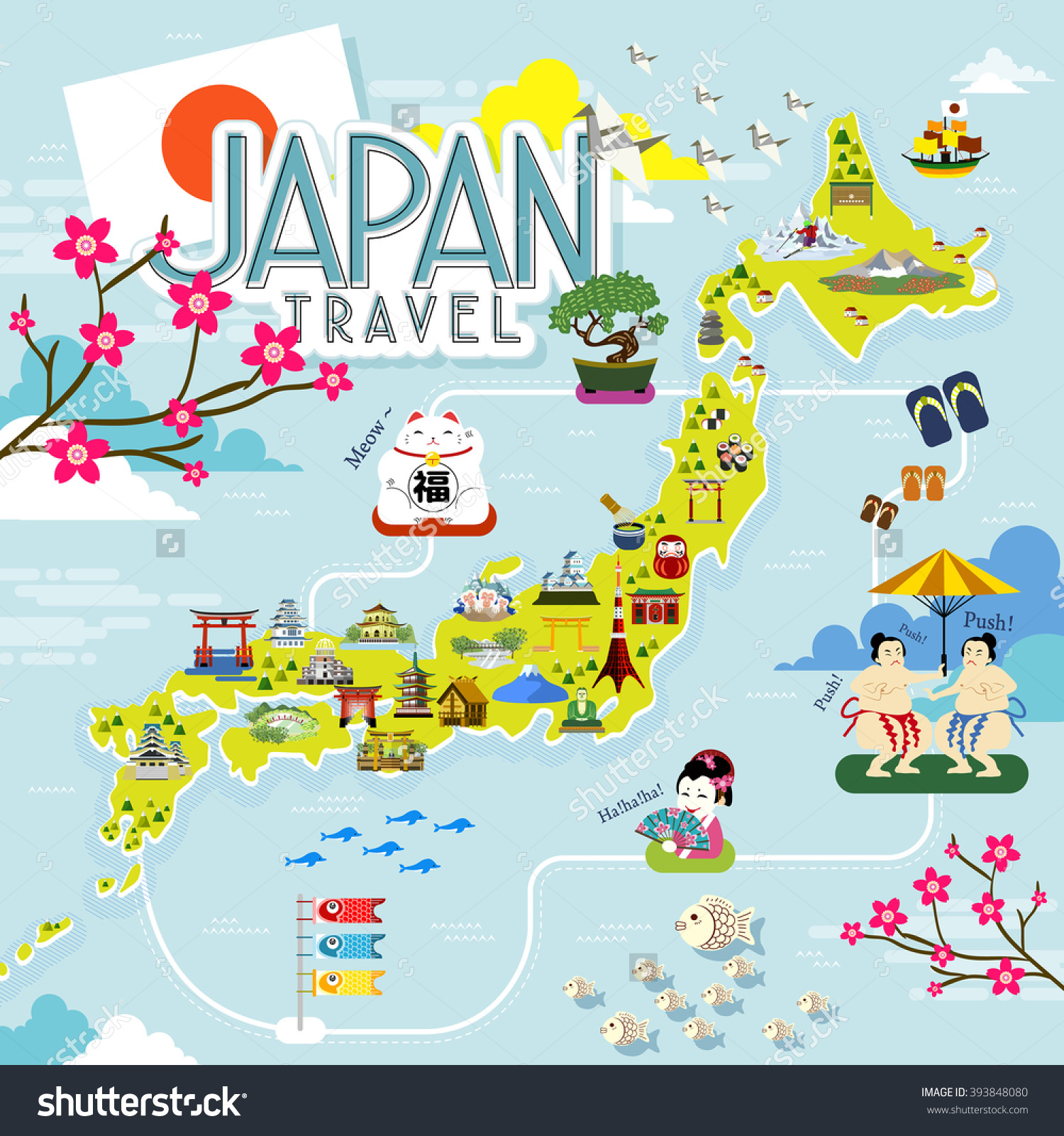 Japan Travel Map Lovely Famous Attractions Illustration – Japan Tourist Map