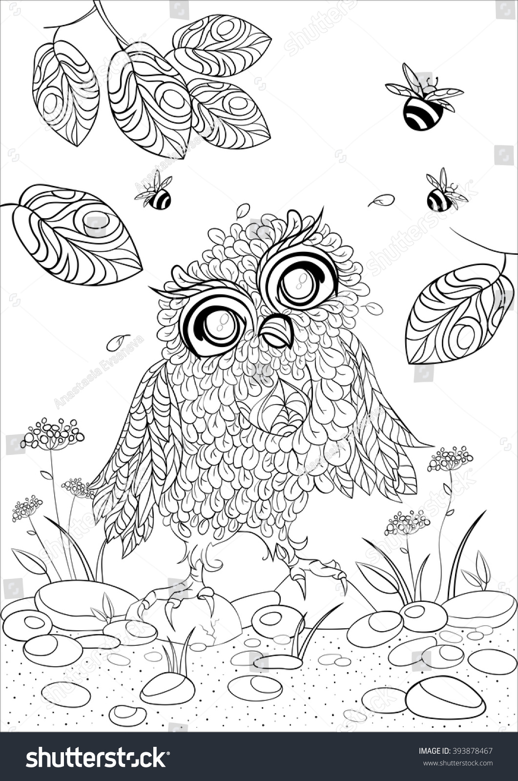 A4 Monochrome Vector Zentangle Stylized Abstract Wise Owl And Fly Bee Art Color