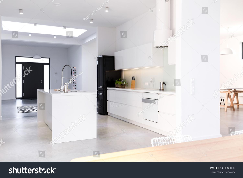 White New Kitchen Island Middle Stock Photo Edit Now 393880030