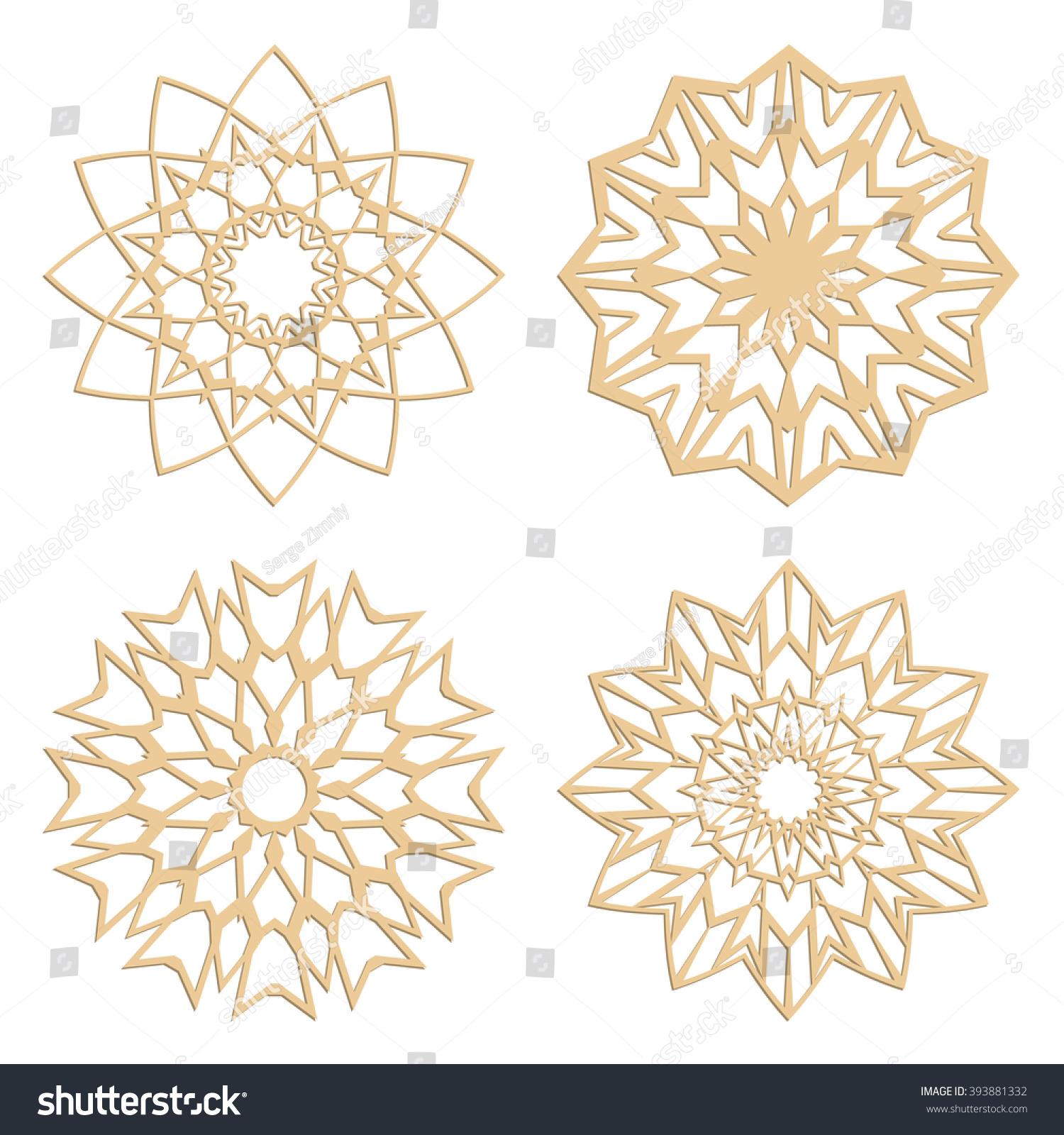 diy laser cutting patterns islamic die stock vector 393881332