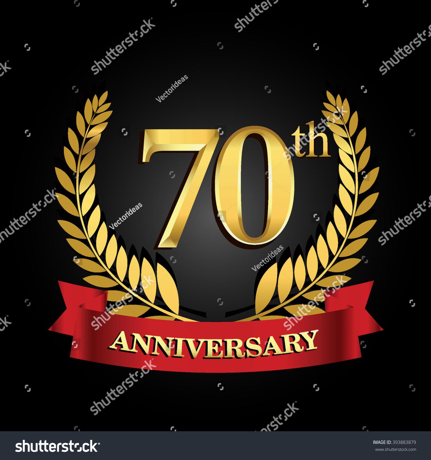 70th anniversary logo red ribbon golden stock vector 25th Anniversary Seal 25th Anniversary Quotes