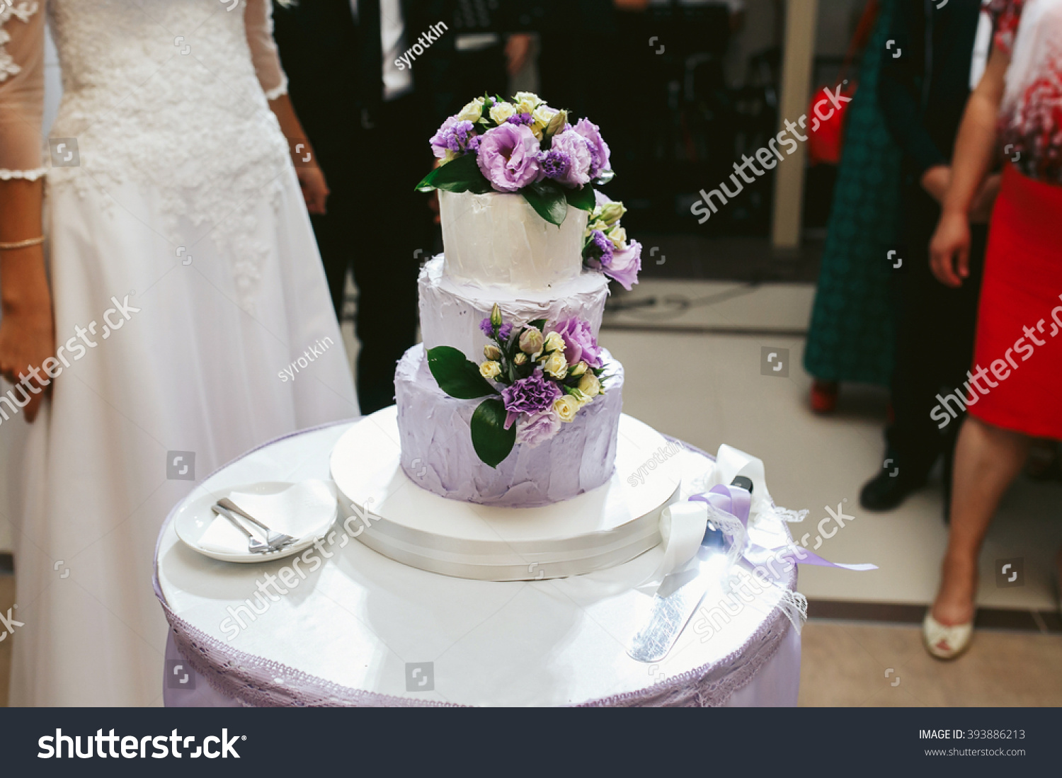 Delicious White Wedding Cake Purple Flowers Stock Photo Edit Now