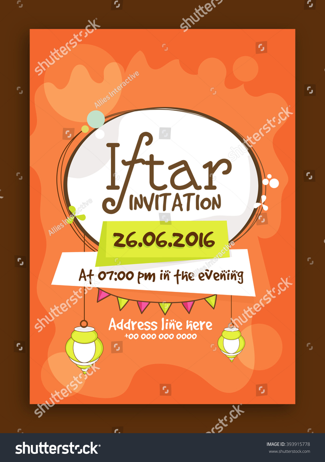 Creative invitation card design date time stock vector 393915778 creative invitation card design with date and time details for ramadan kareem iftar party celebration stopboris Gallery