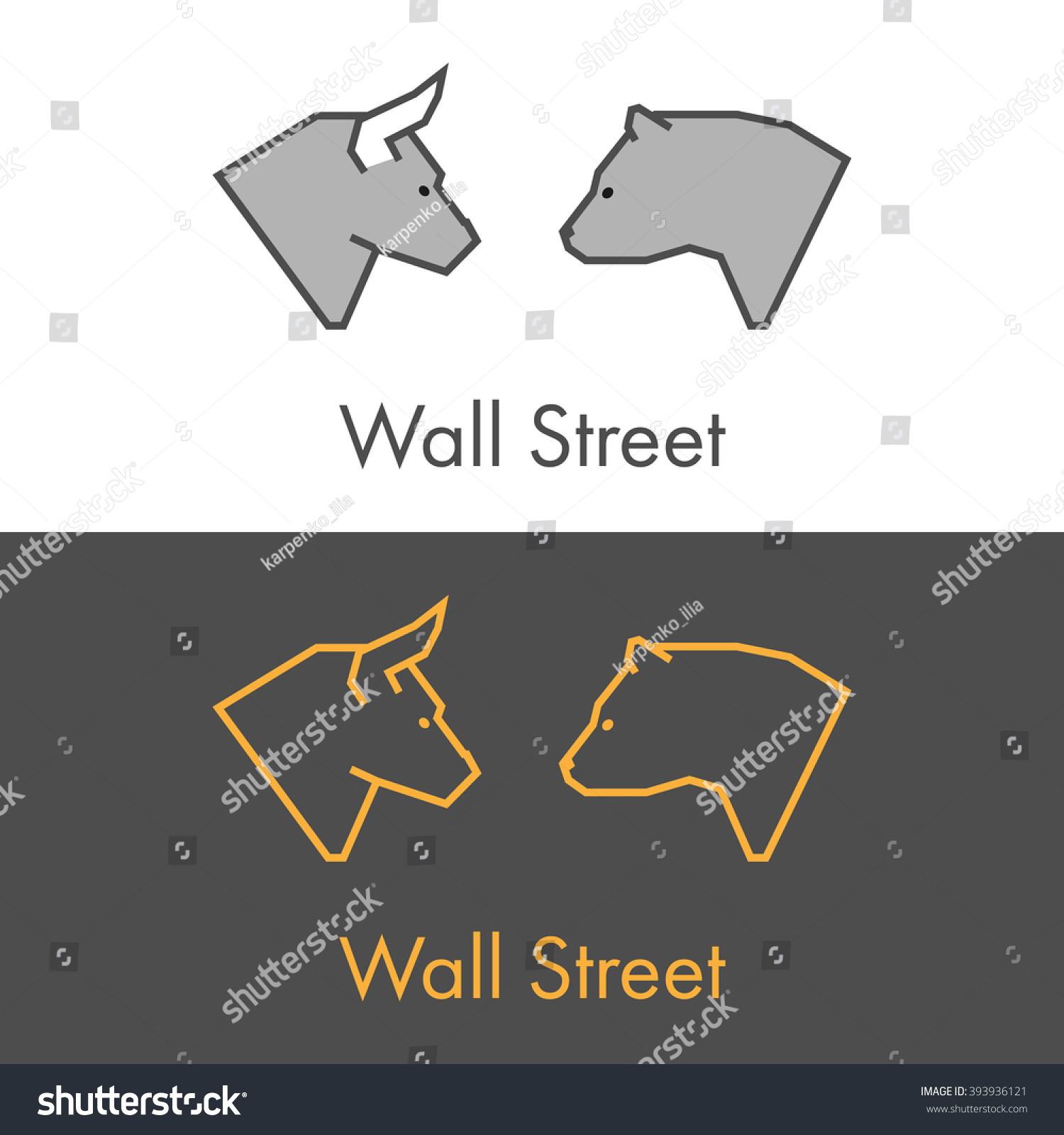 Vector symbol work on wall street stock vector 393936121 vector symbol work on wall street modern bull and bear icon for wall street buycottarizona