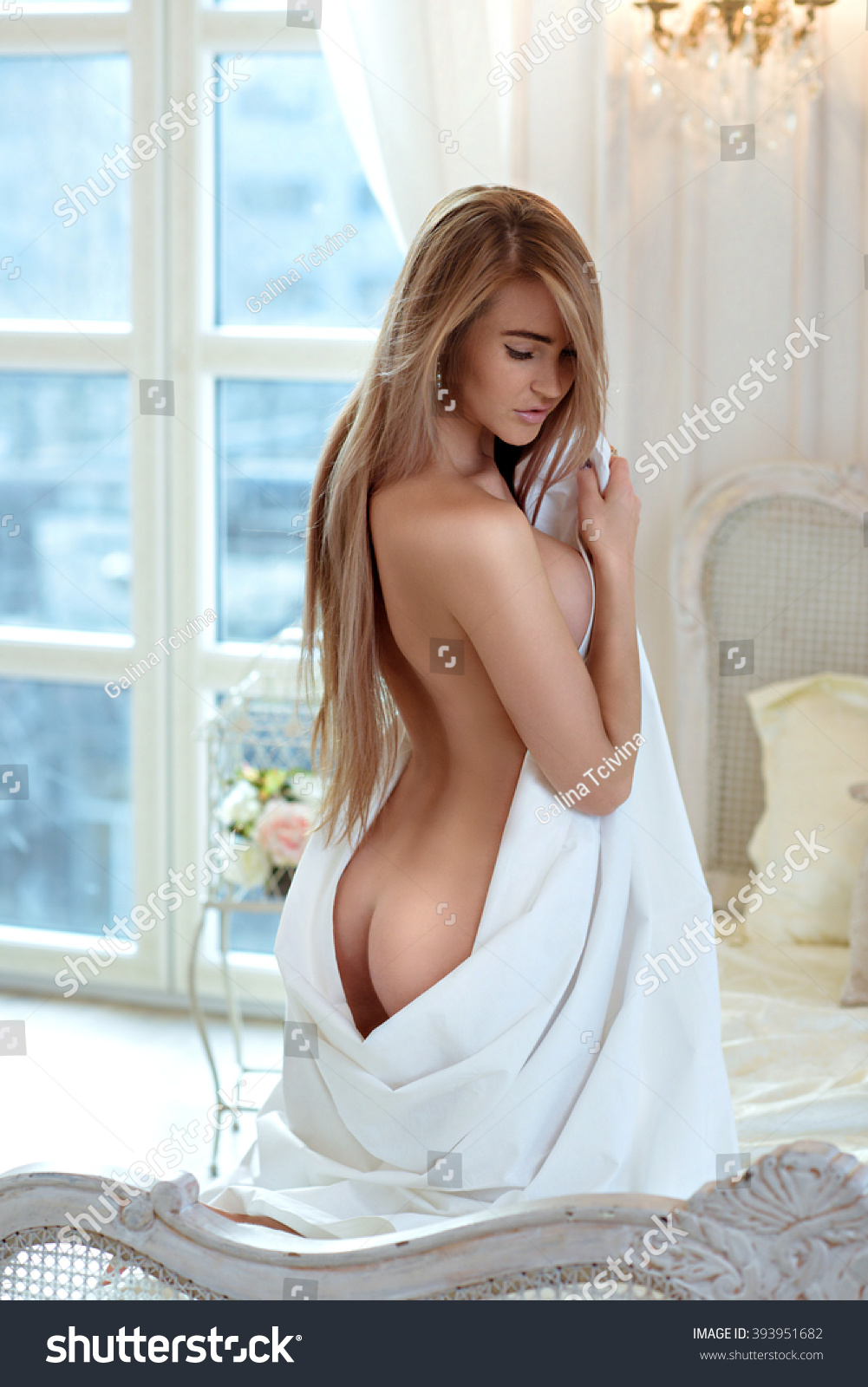 beautiful nude sexy lady elegant pose stock photo (safe to use
