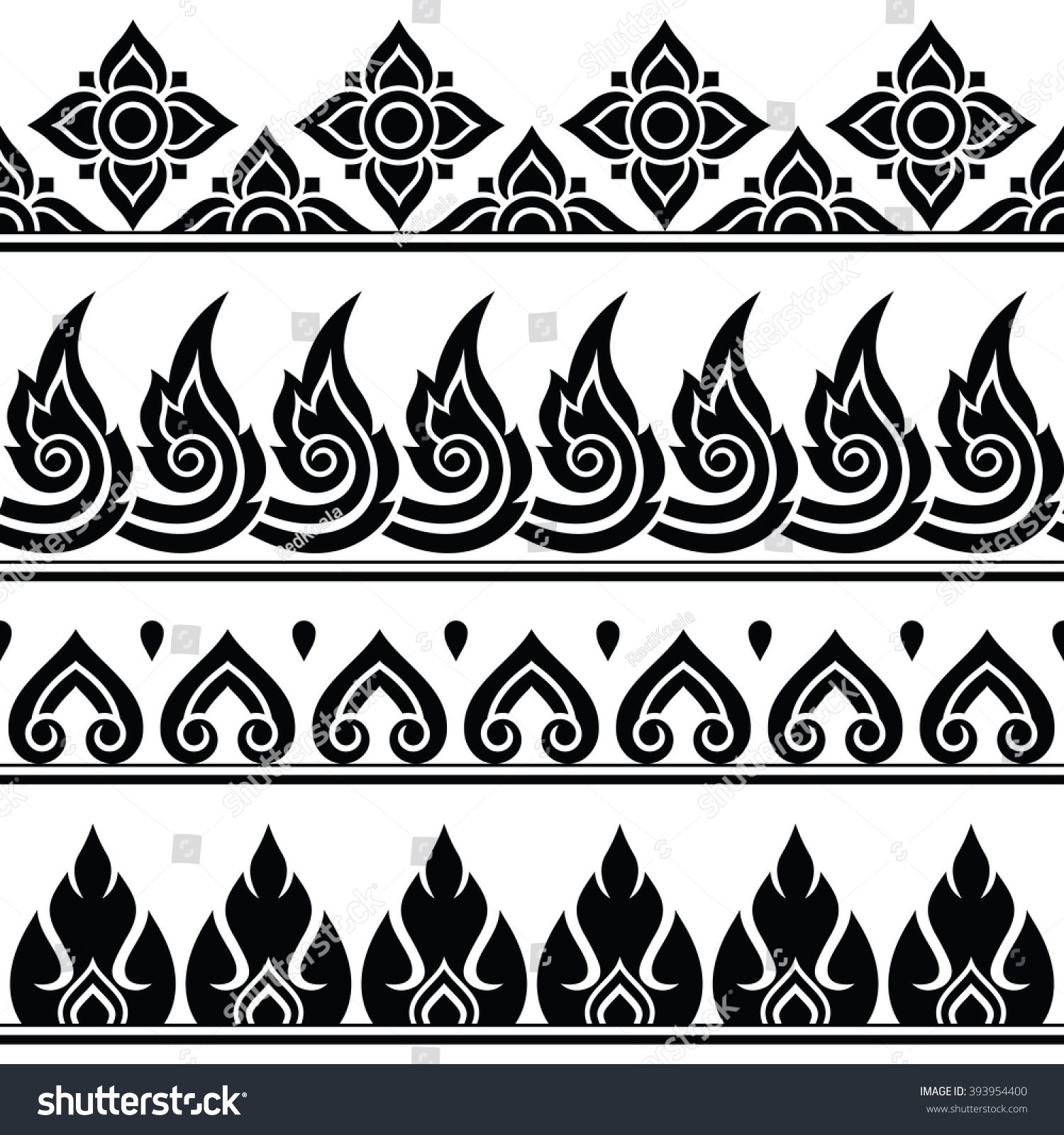 Seamless Thai Pattern Repetitive Design Thailand Stock Vector