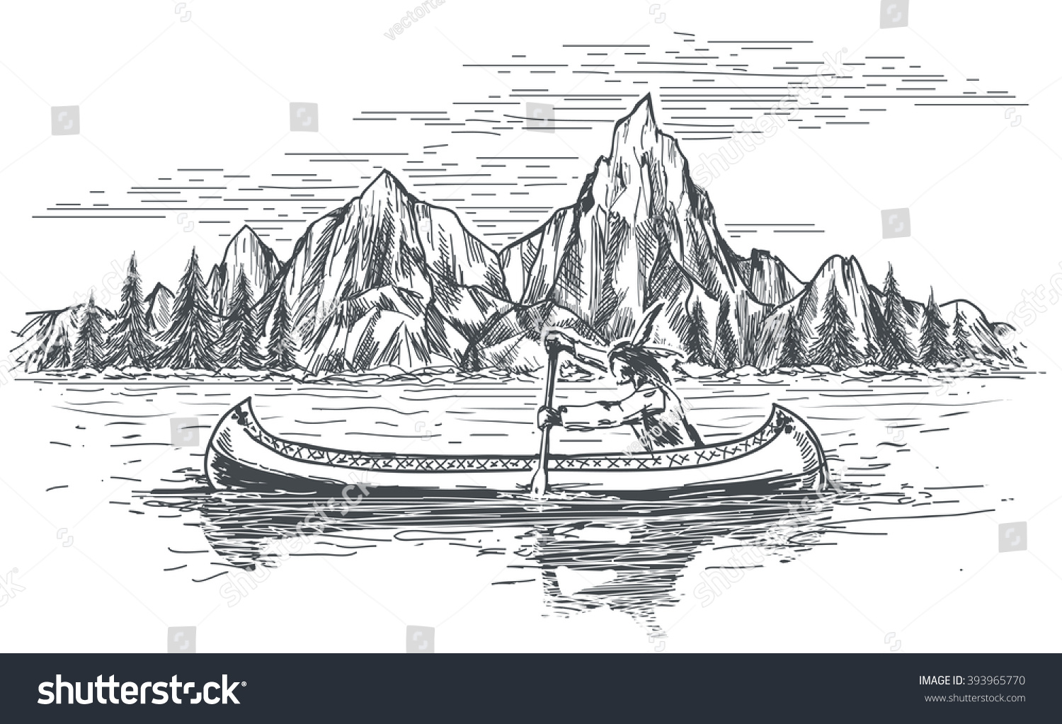 Native American Rowing Indian In Canoe Boat On Mountain Landscape Hand Drawn Vector Illustration