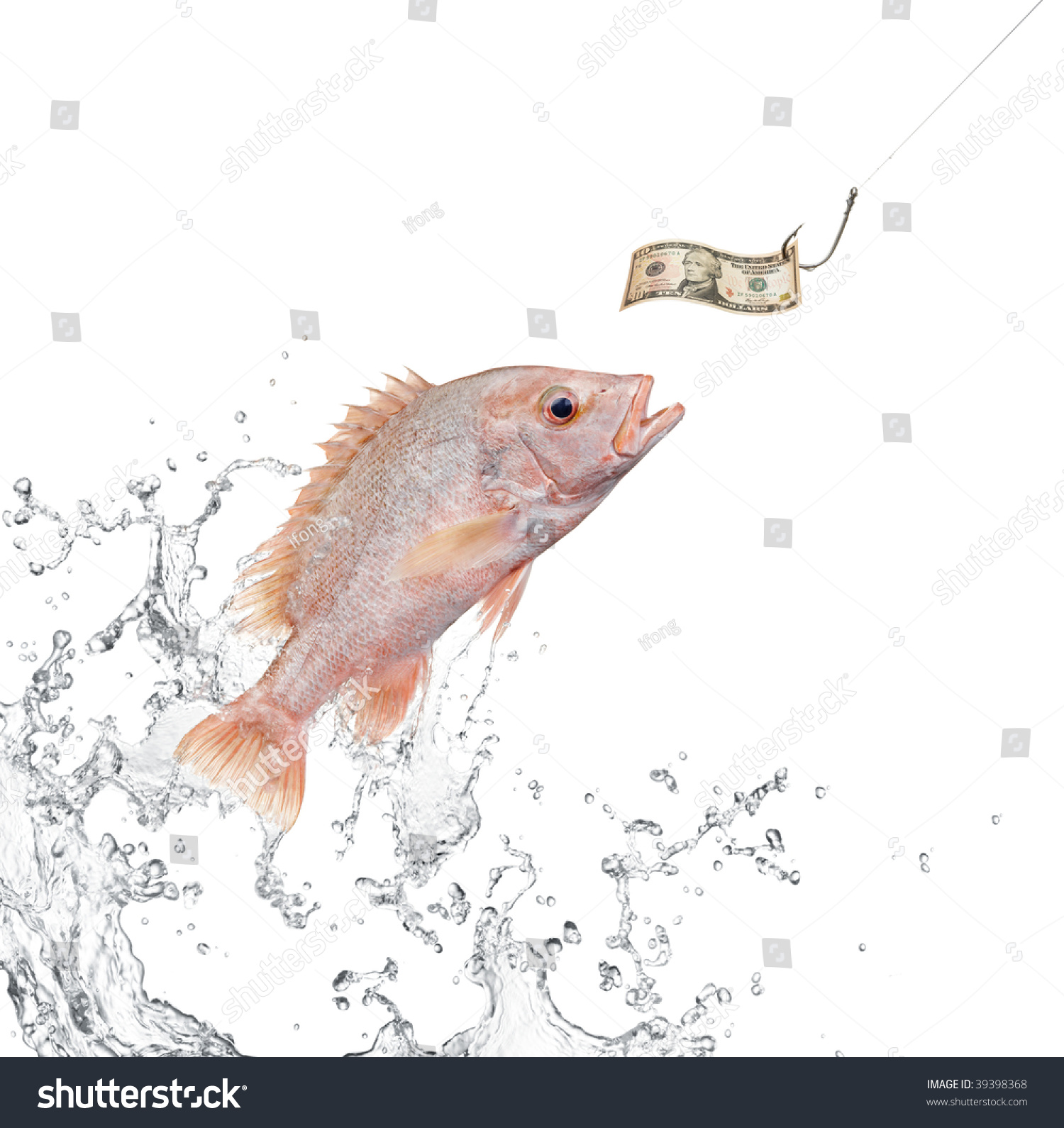 Fish jumping out water hunting money stock photo 39398368 for Fish for cash