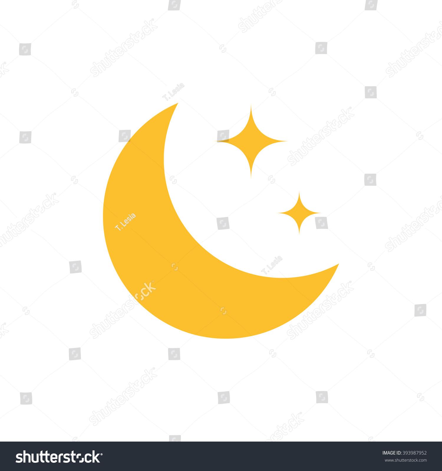 Flat Moon Icon Night Symbol Vector Stock Vector 393987952 ...