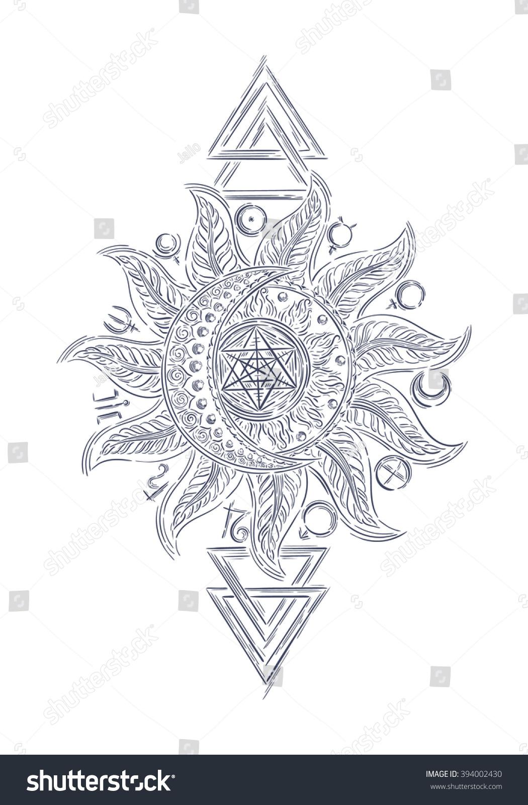 Hand drawn line art vector alchemy stock vector 394002430 hand drawn line art vector alchemy symbols planet icon magic astrology alchemy biocorpaavc Images