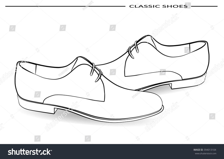 Vector classic men shoes pencil drawing