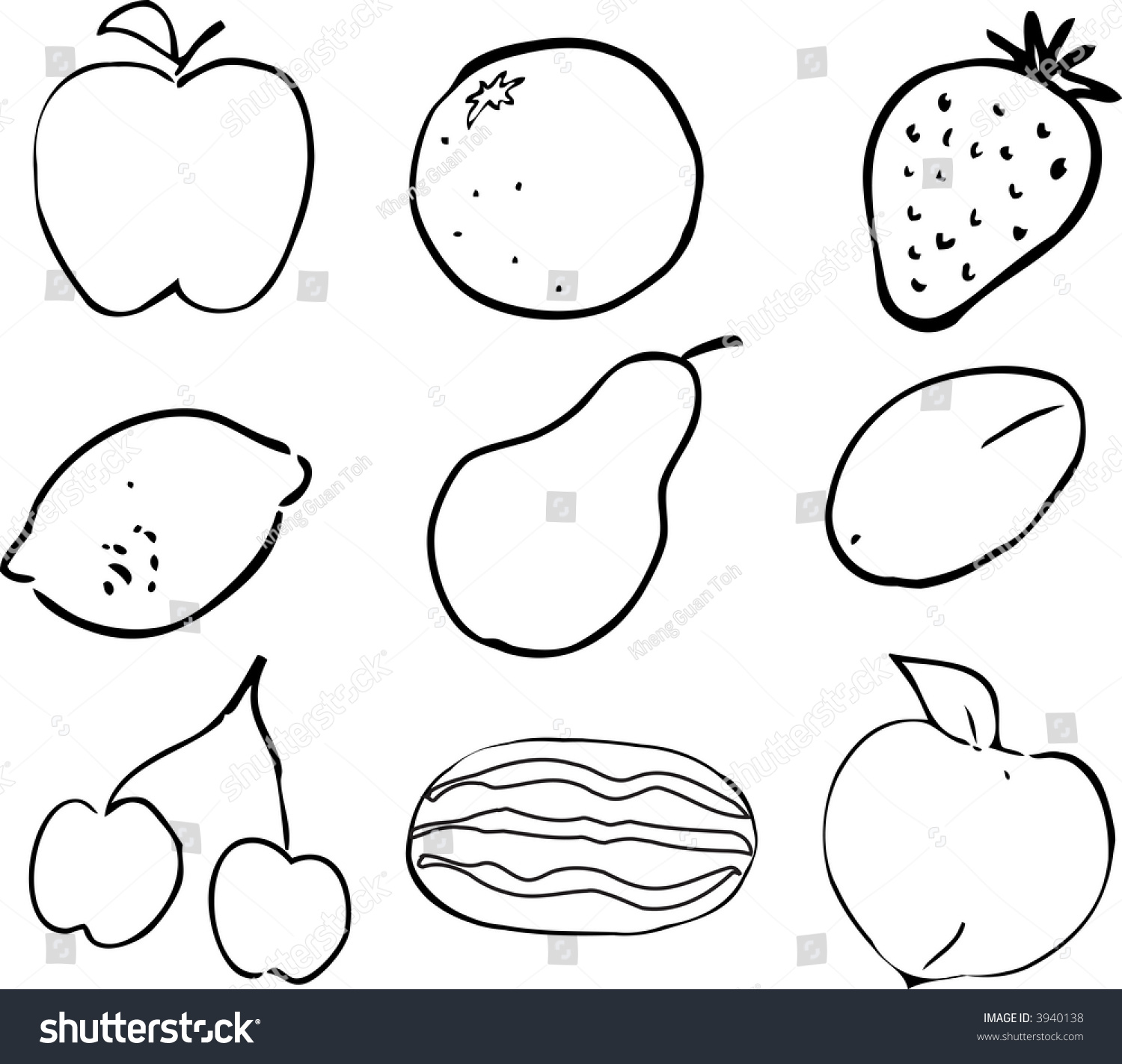 Black & White lineart Illustration of fruits, hand-drawn look: apple ...