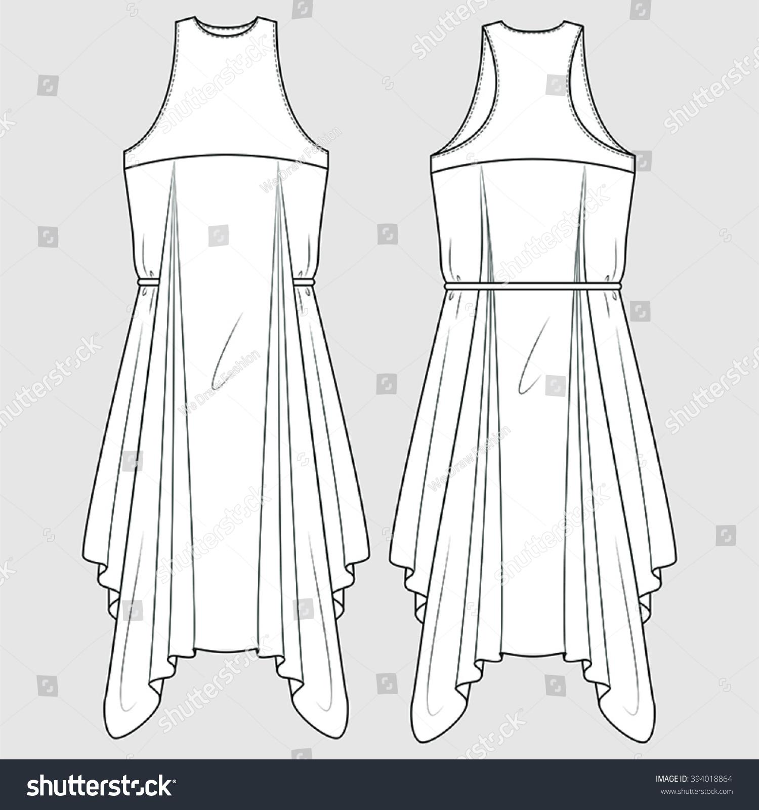 Racer Back Draped Formal Dress Fashion Stock Vector Royalty Free 394018864