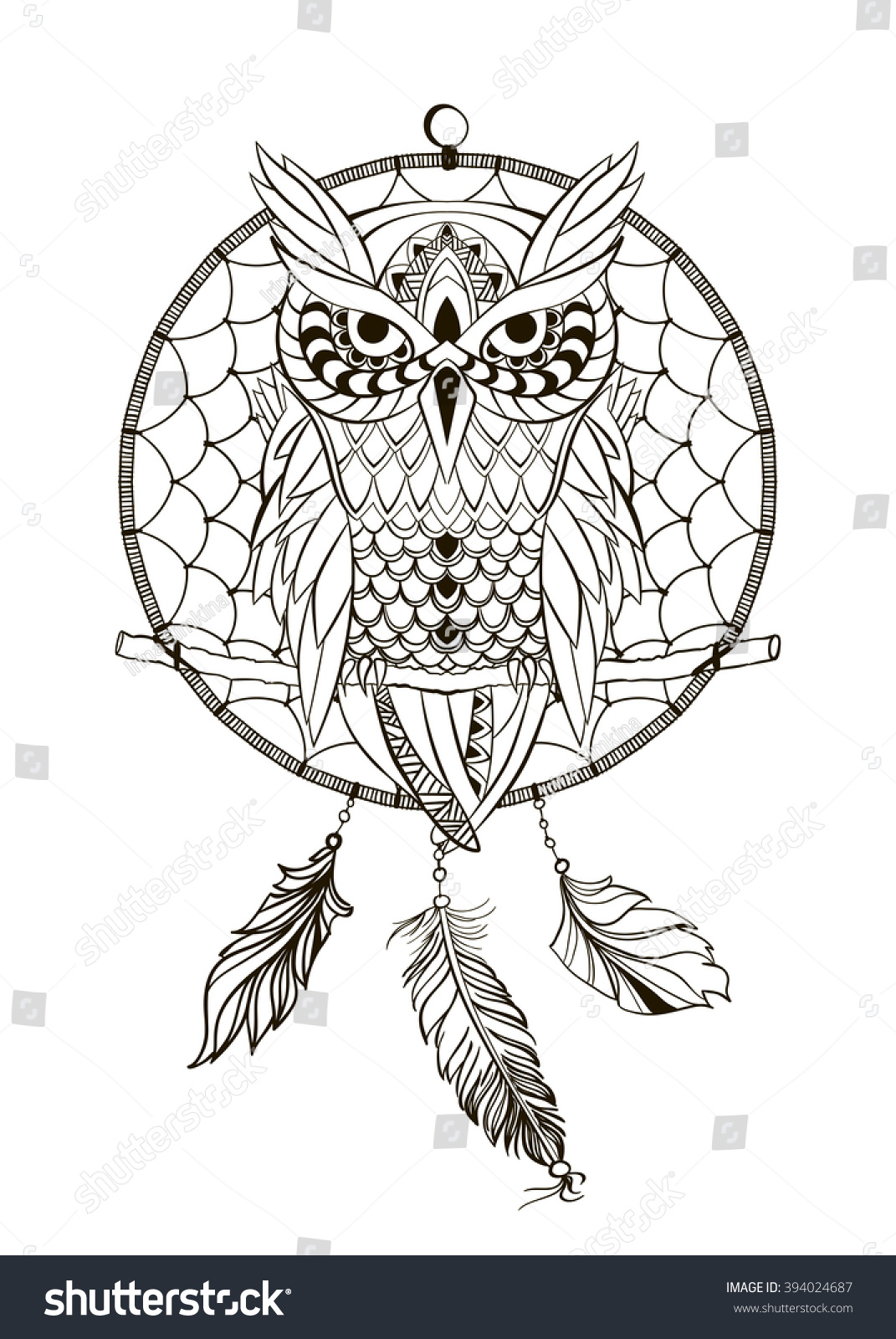 Coloring pages dream catchers - Coloring Book For Adult Dream Catcher Owl Vector Illustration Isolated Retro Banner Invitation