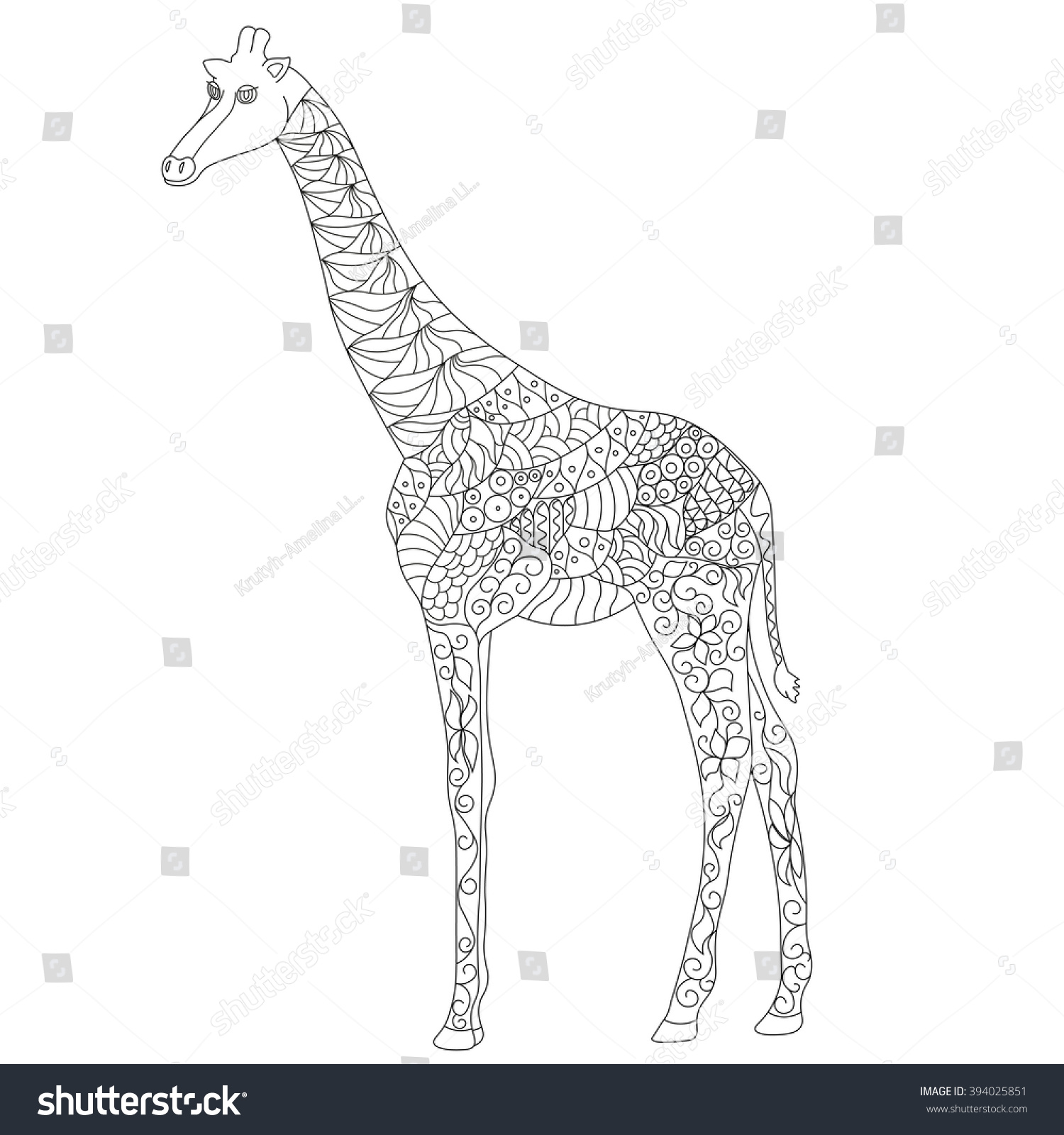 anti stress coloring page zentangle giraffe stock vector 394025851