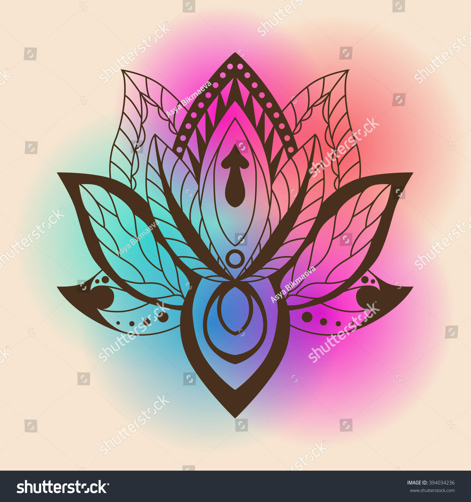 Royalty Free Lotus Mandala On A Bright Background 394034236 Stock