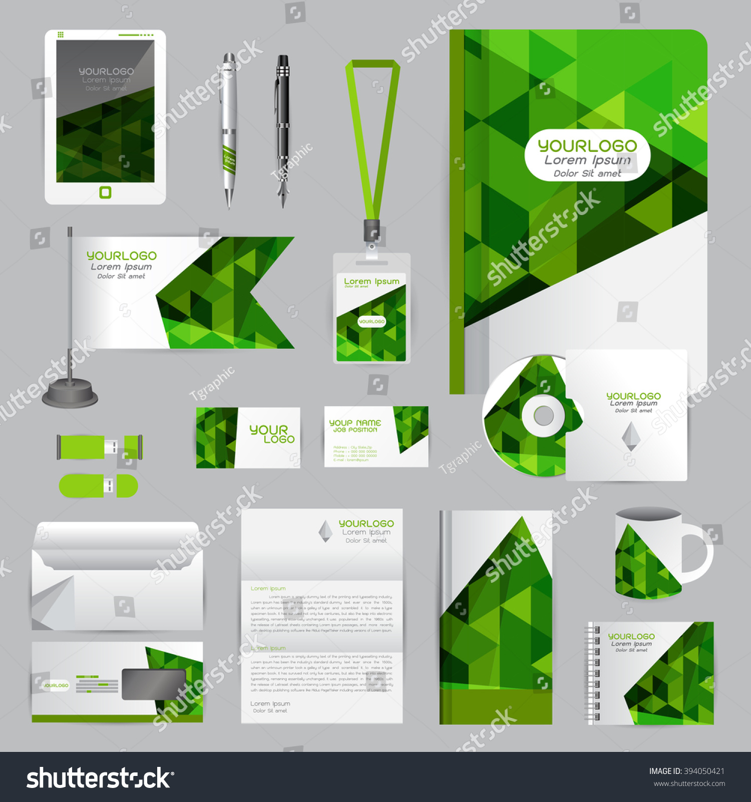 White Identity Template Origami Elements Vector Stock Vector ...