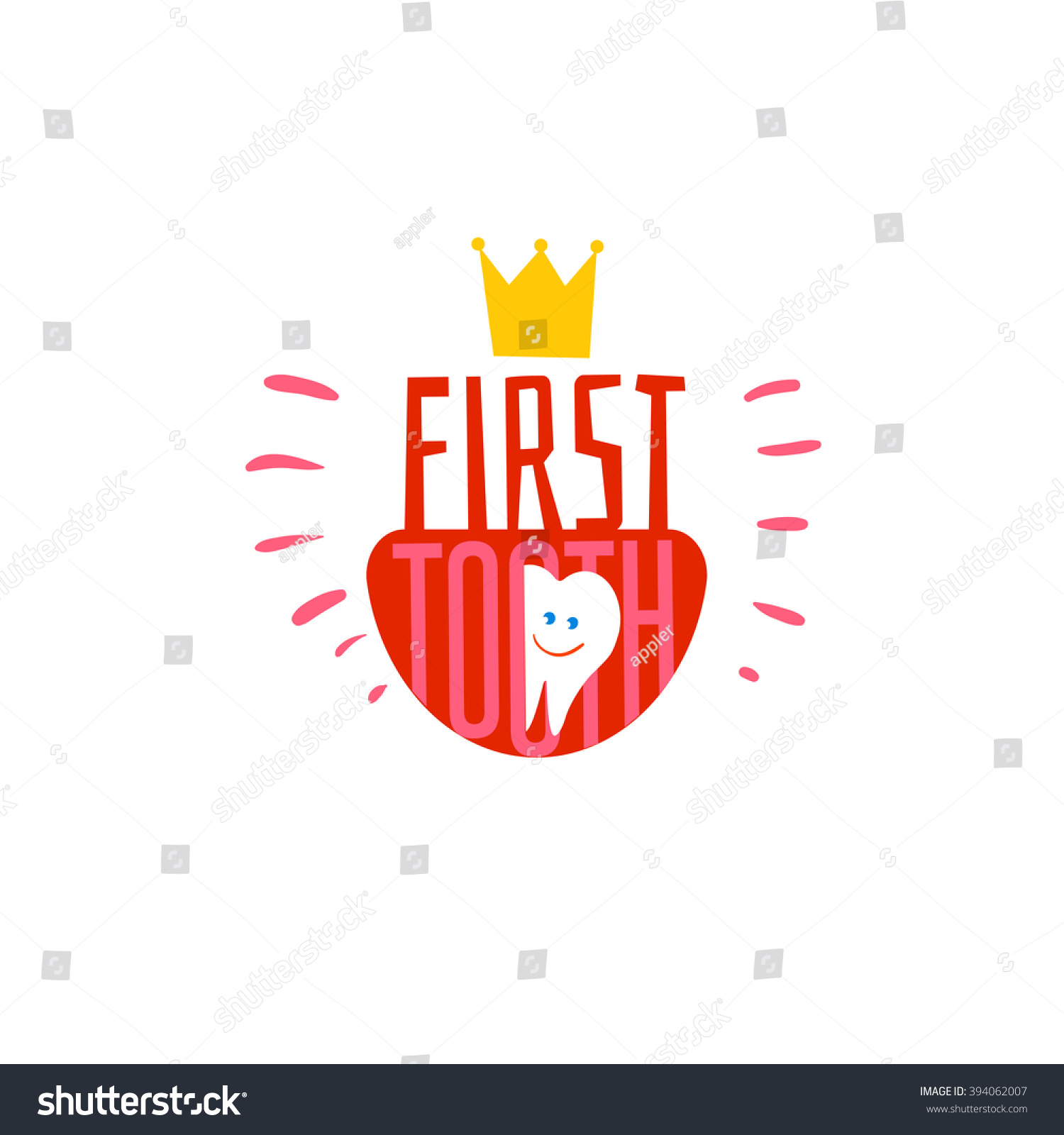 Baby First Tooth Logo Vector Illustration Stock Vector