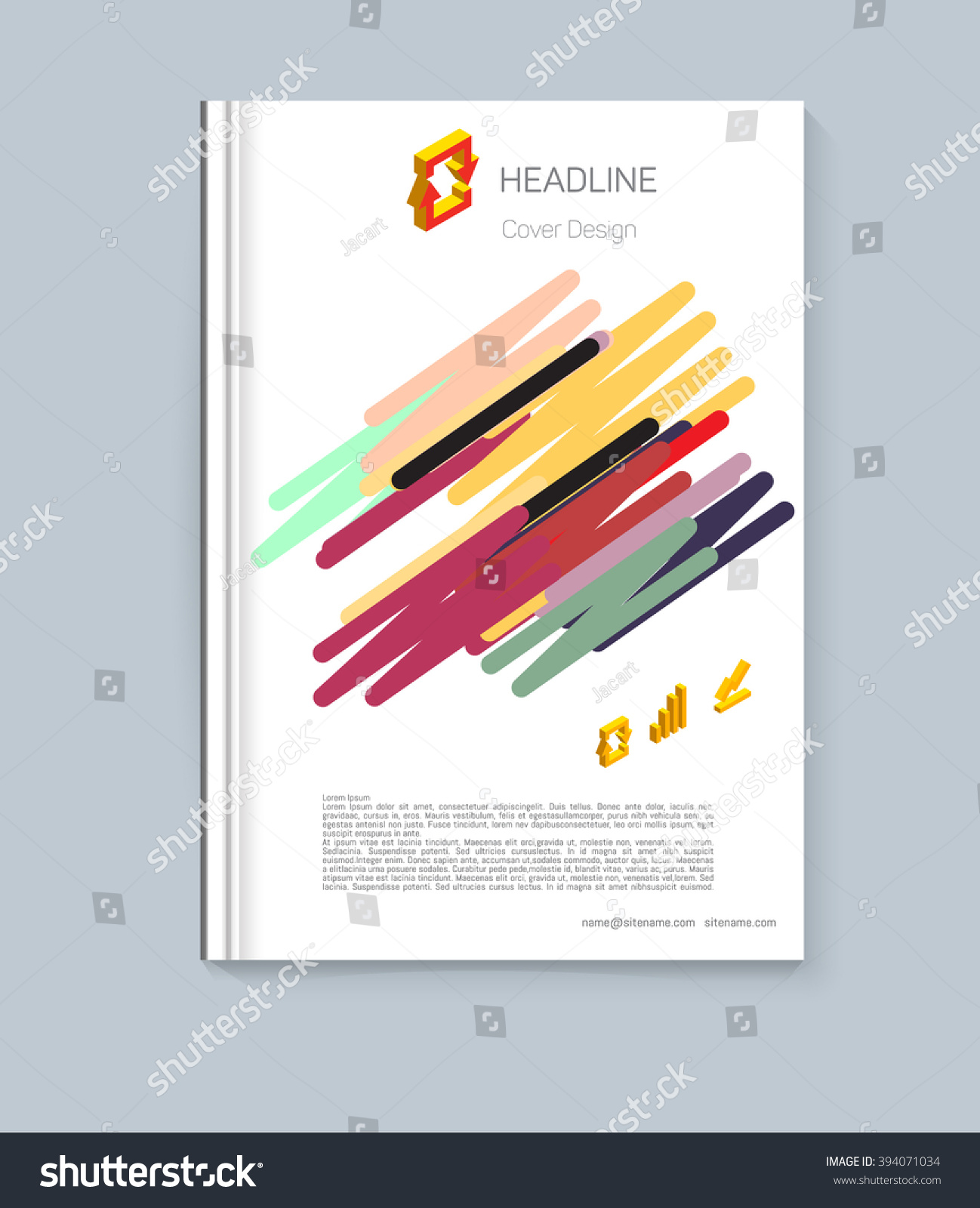 Exercise Book Cover Design : Exercise book cover layout design colored stock vector