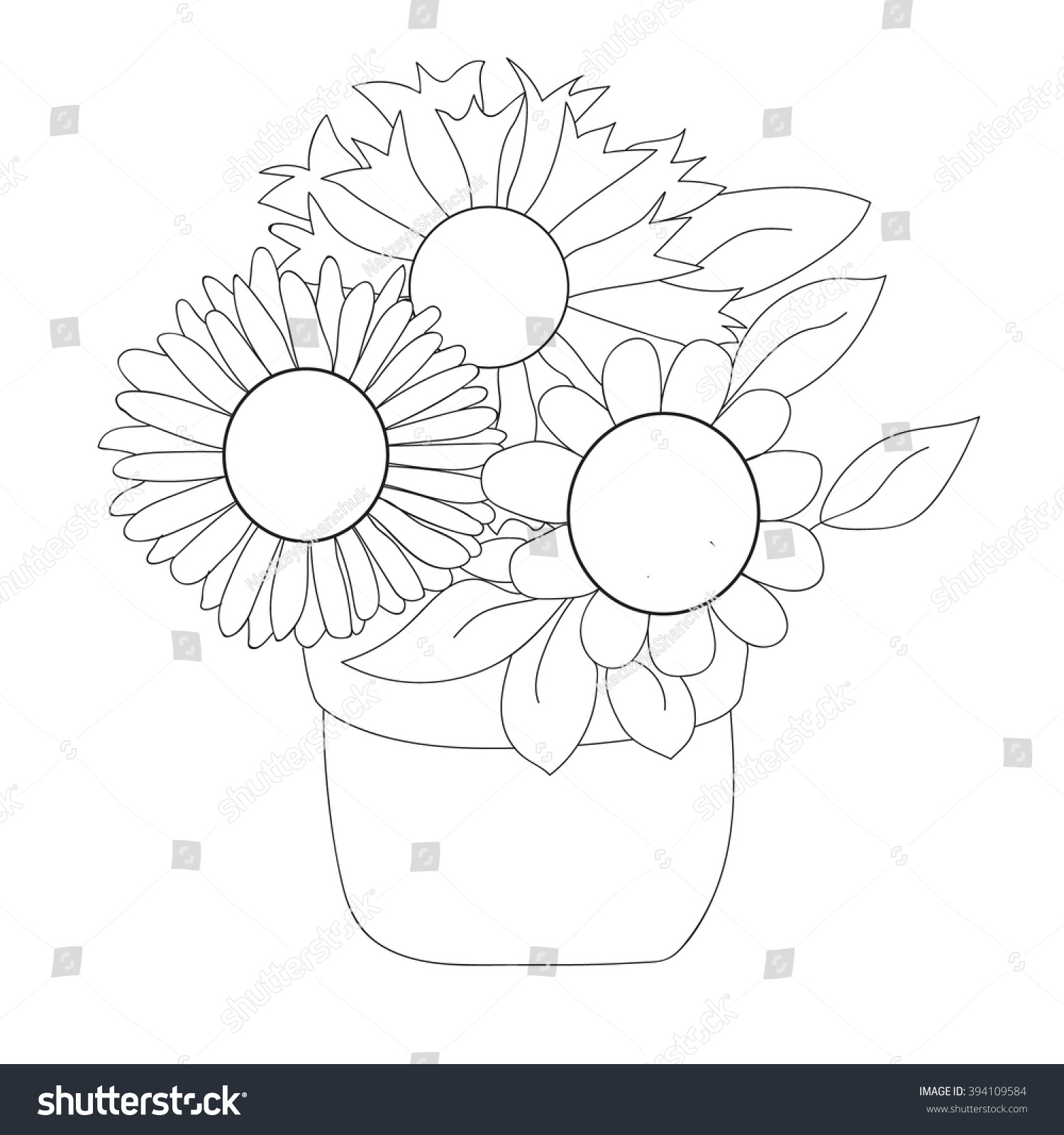 Vector Isolated Coloring Book Flowers Pot Stock 394109584