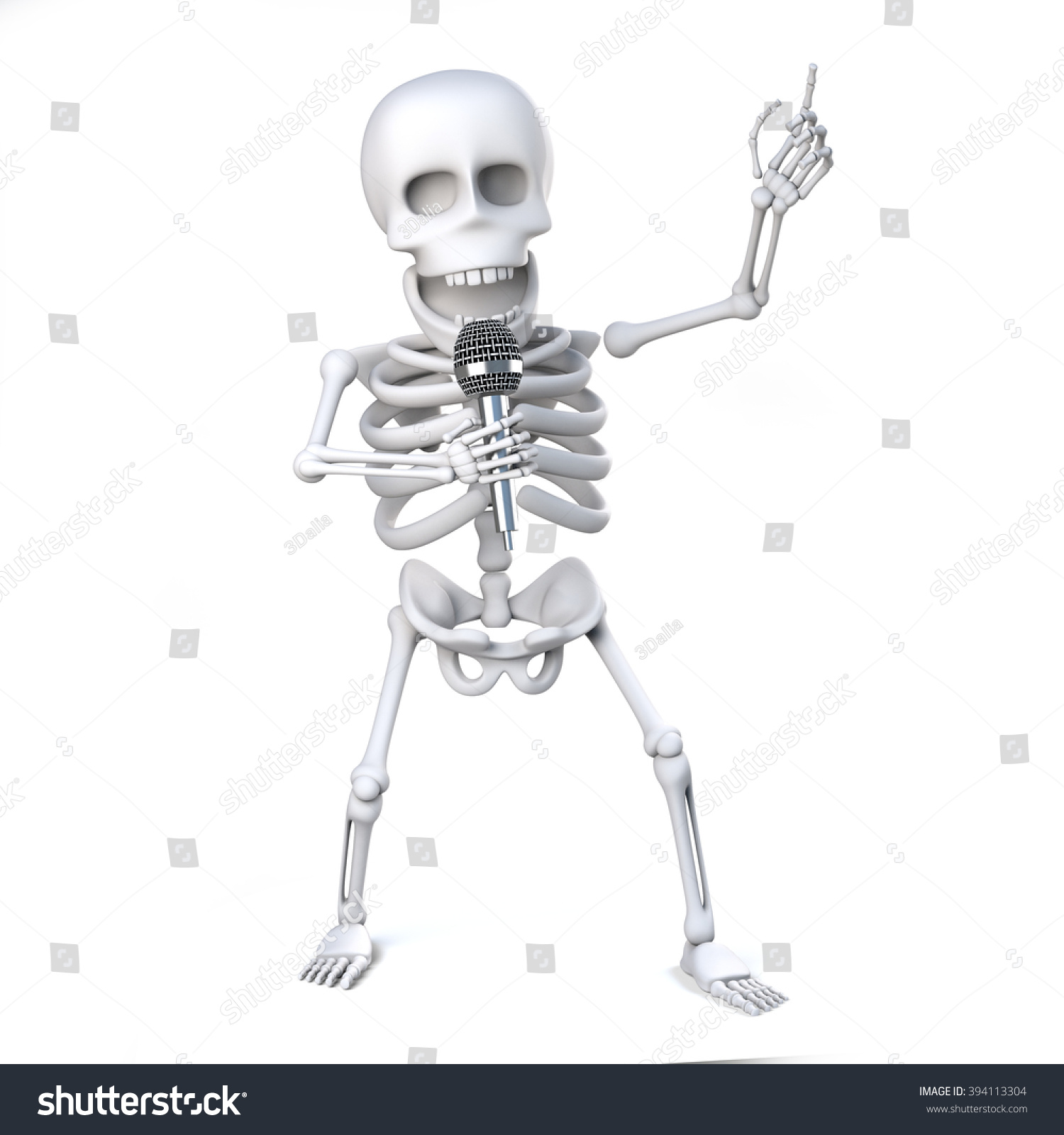 3 D Render Skeleton Singing Micophone Stock Illustration 394113304 ...