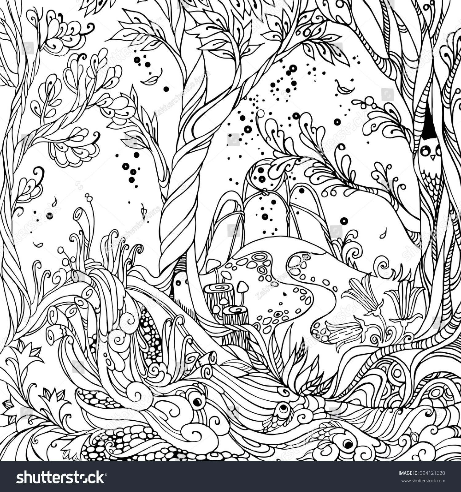 Fairy Forest Adult Coloring Page Vector Stock Vector (Royalty Free ...