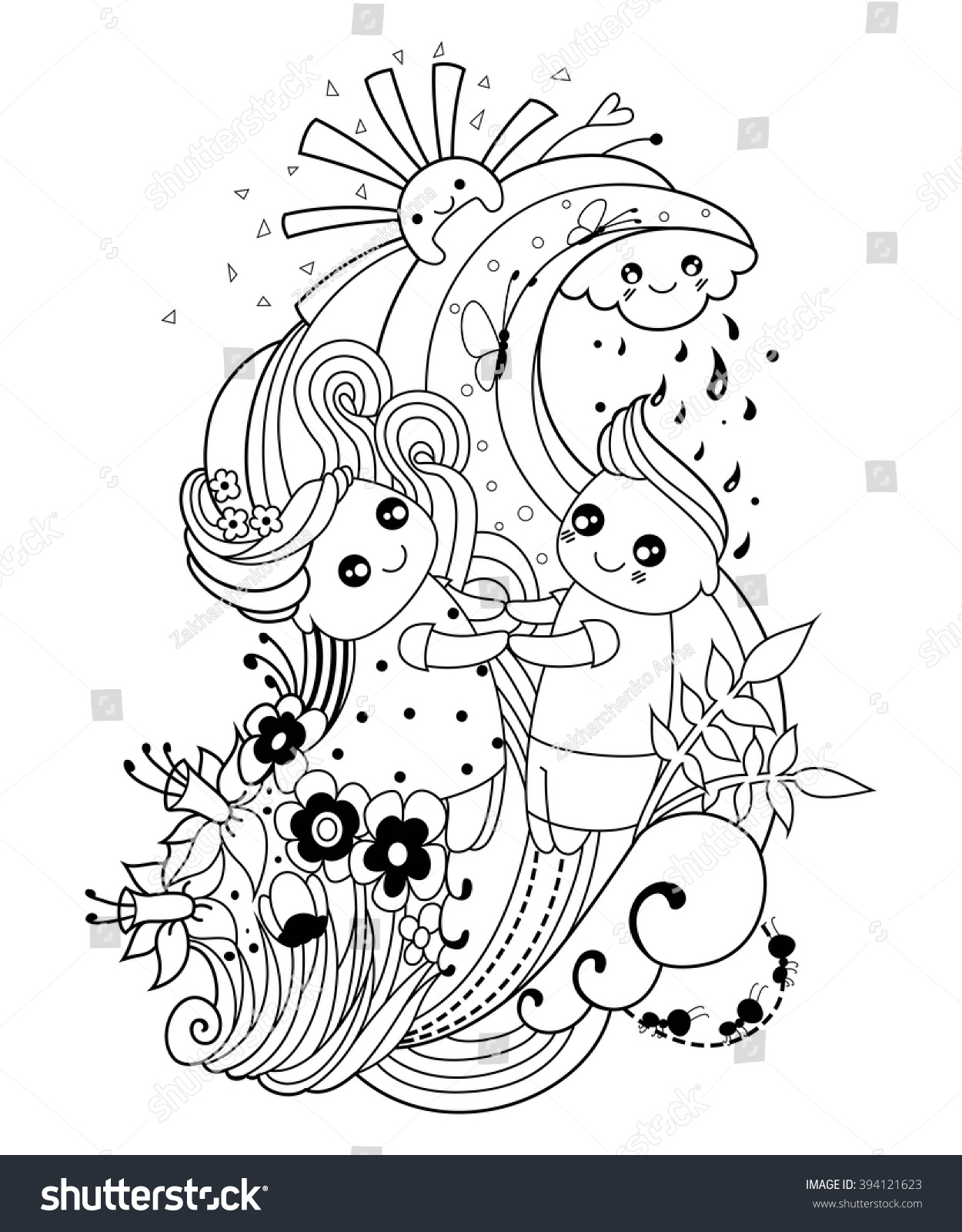 Spring rain coloring pages - Adult Coloring Page With Boy And Girl Cloud Sun Rain Flowers