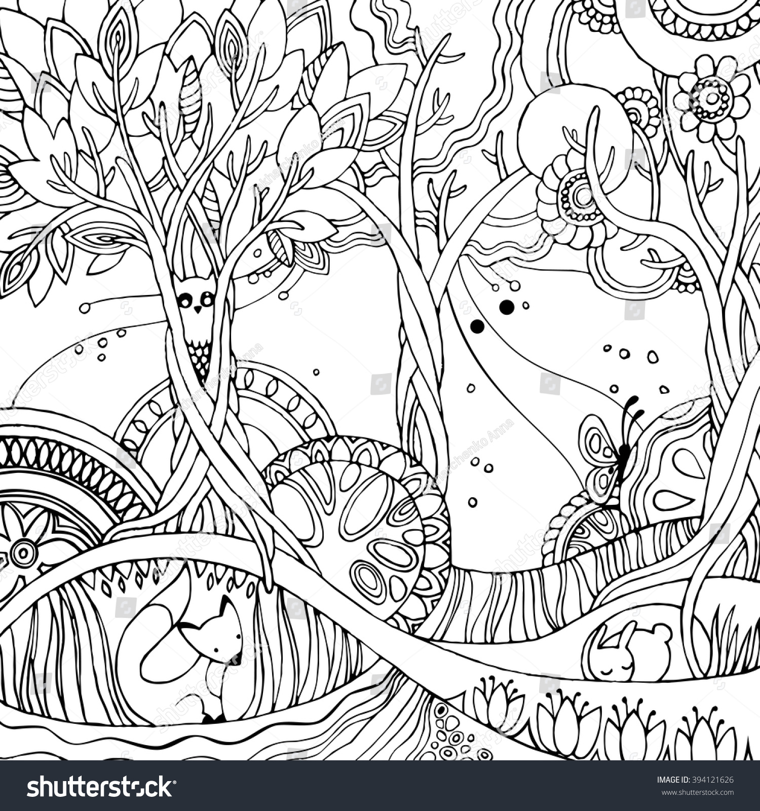Coloring pages trees and flowers - Adult Coloring Page With Forest Fox Owl Rabbit Butterfly Trees