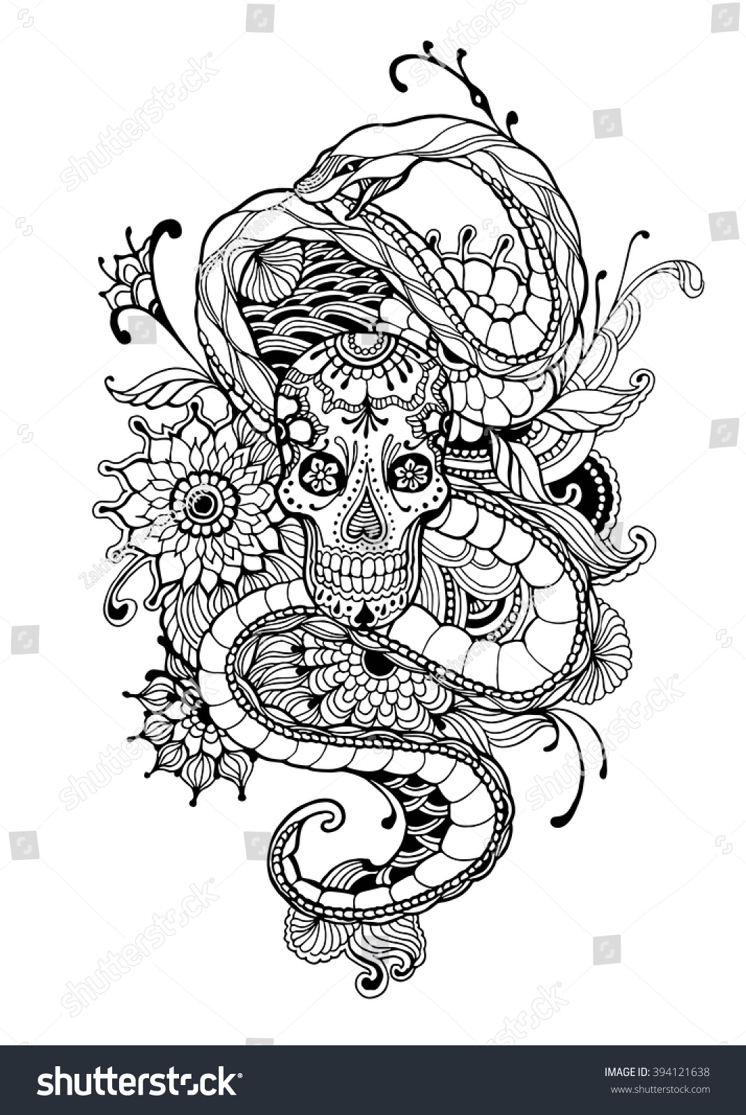 skull snake coloring page vector stock vector 394121638
