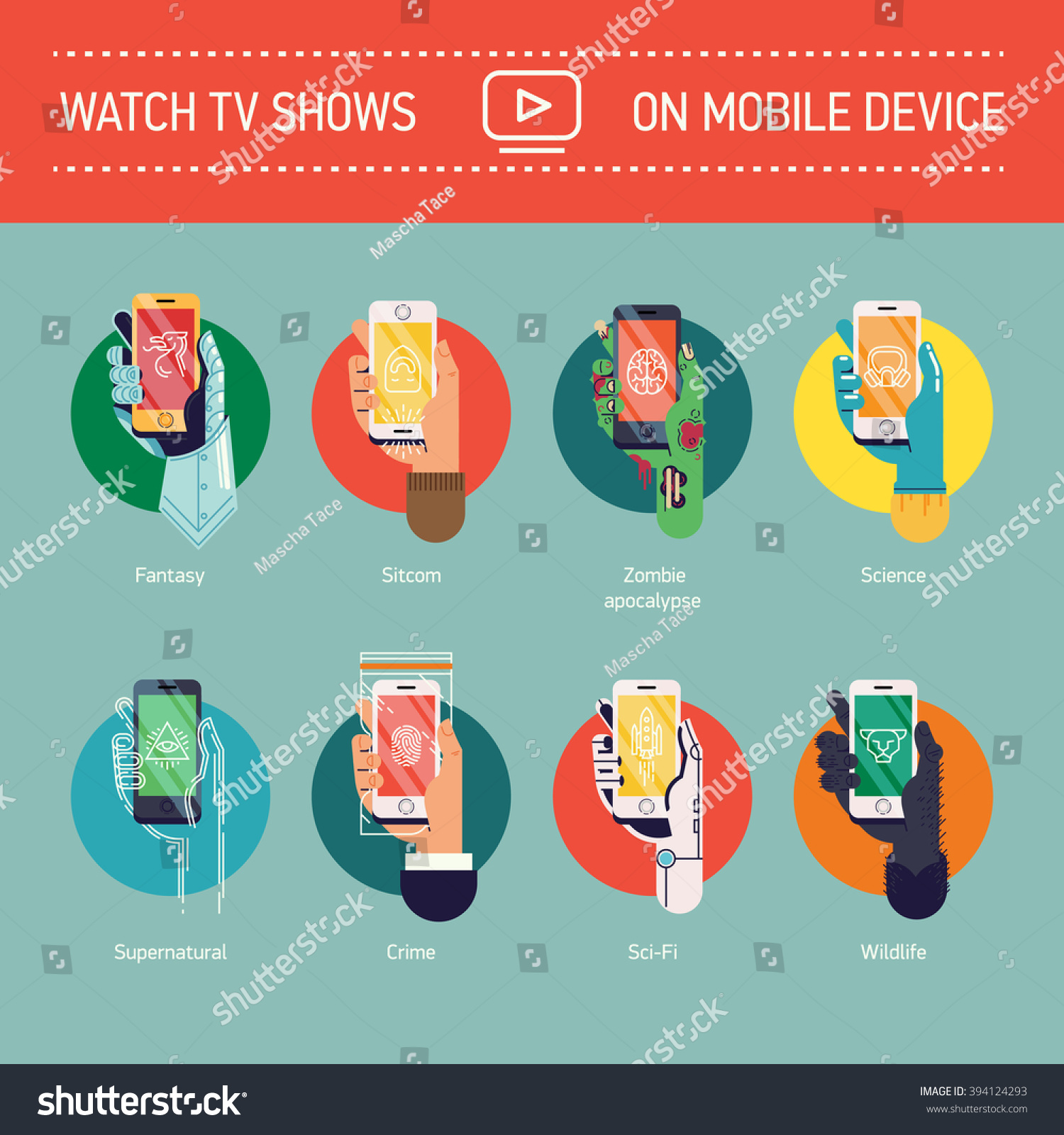 watch tv shows on mobile device stock vector 394124293 - shutterstock