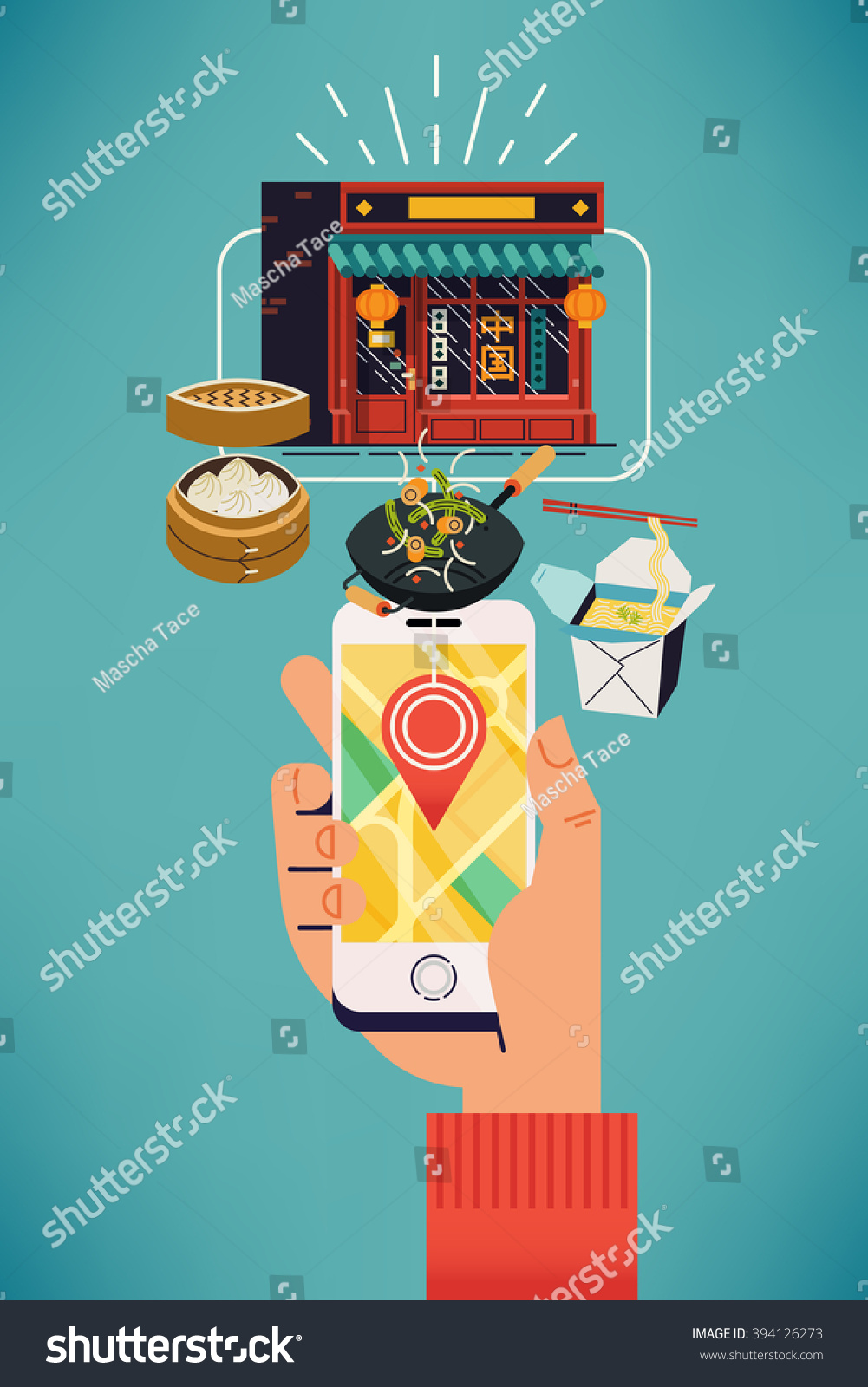 Find Oriental Food Near You Cool Stock Vector 394126273 - Shutterstock