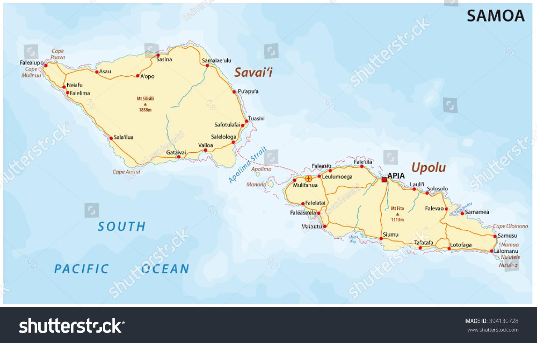 Road Map Samoa Stock Vector 394130728 Shutterstock