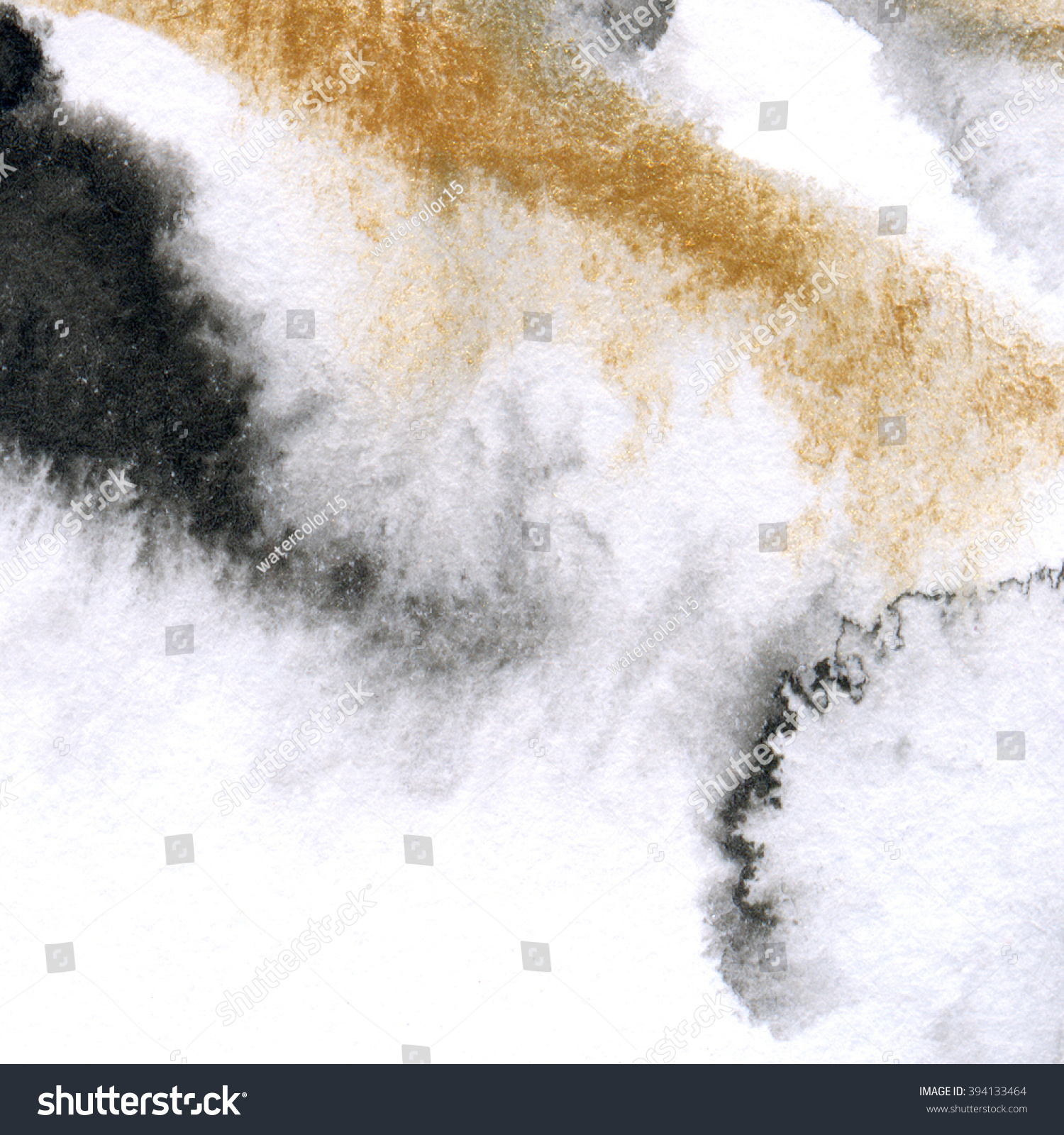 Black Watercolor Texture Gold Abstract Background Stock