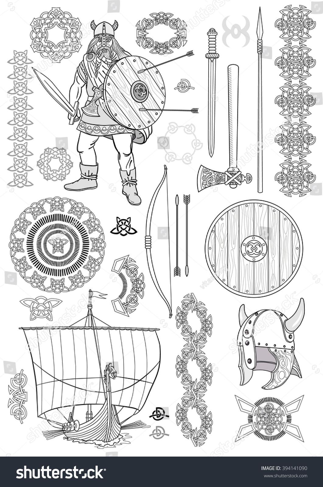 Set Viking Life Man Viking Rowing Stock Vector 394141090 ...