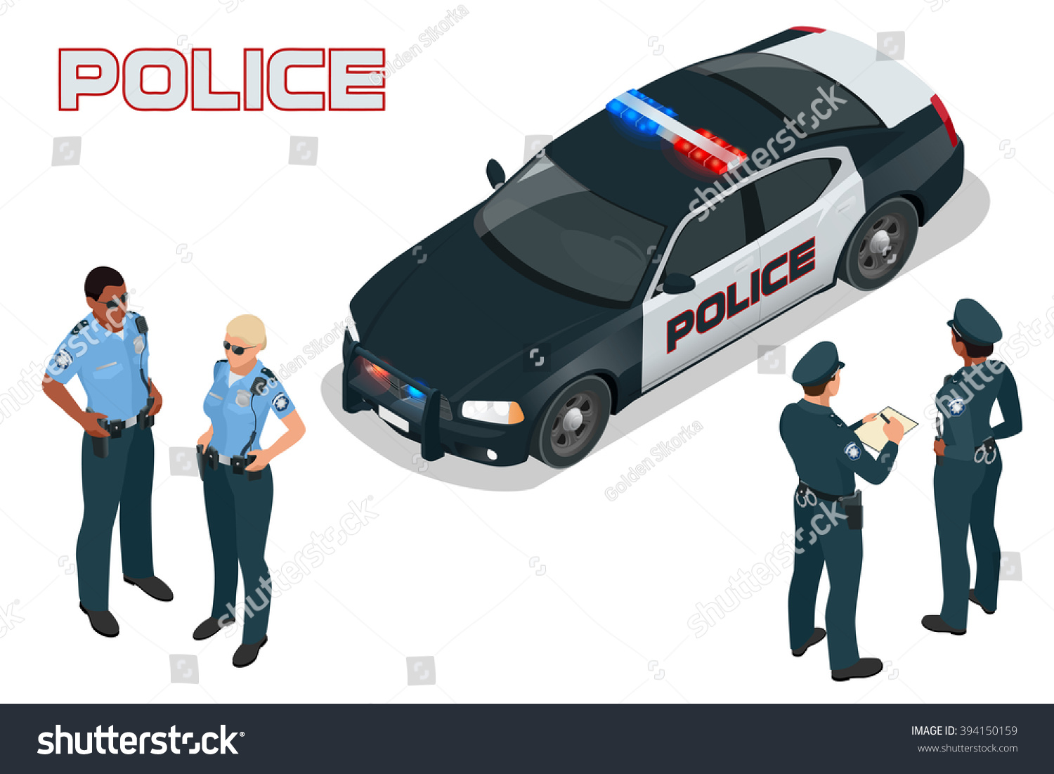 Isometric Police Car Prowler Squad Car Stock Vector 394150159