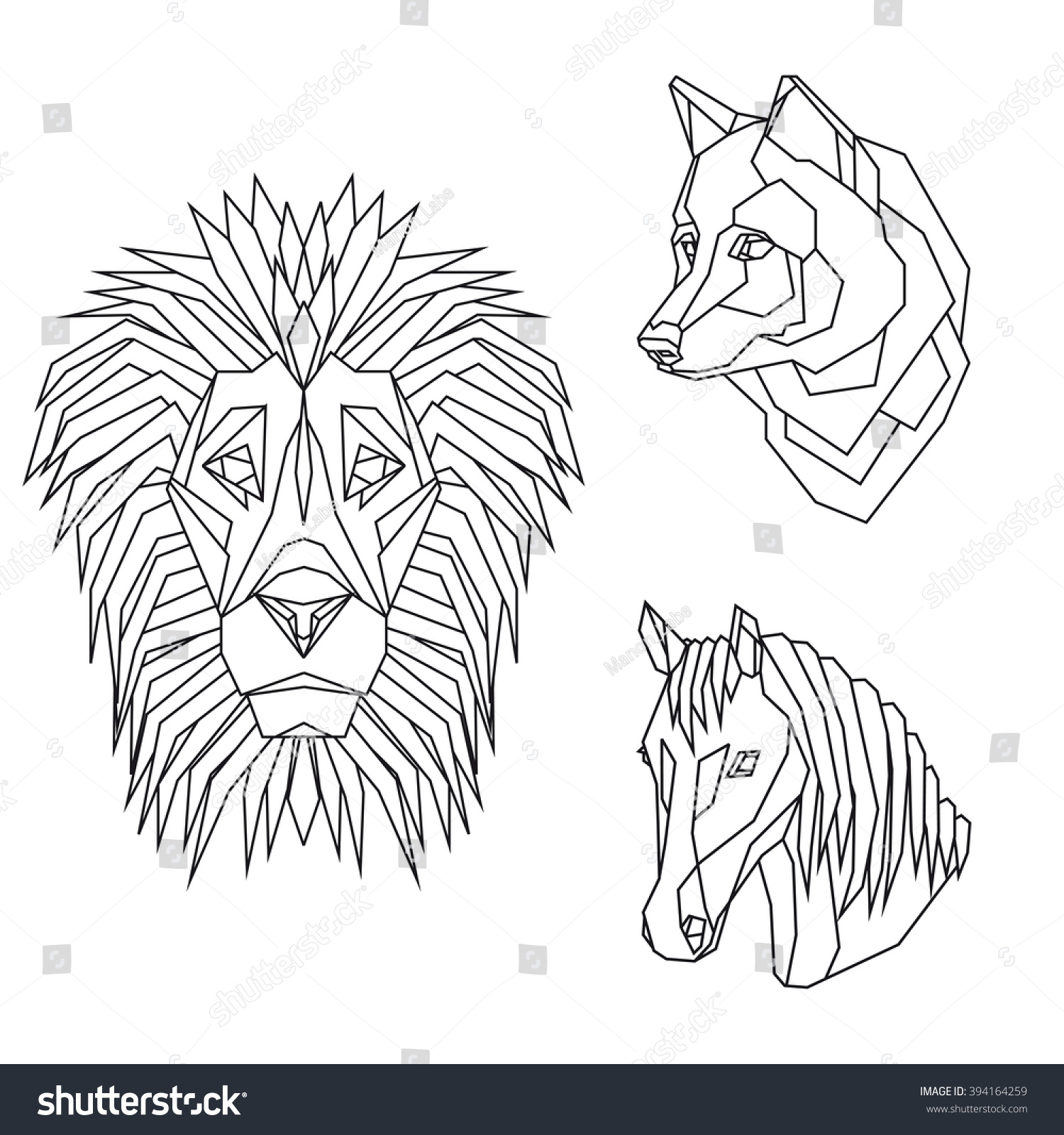 179d6e687 Geometric vector set with animal heads of lion, wolf and horse, drawn in  line.