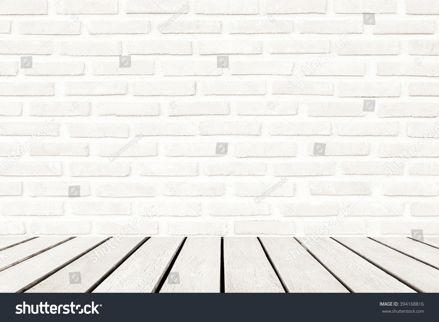 Wood Floor White Brick Wall Interiors Stock Photo - White brick interiors