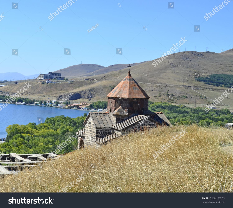Lake Sevan: Armenian Church At Lake Sevan Stock Photo 394177471