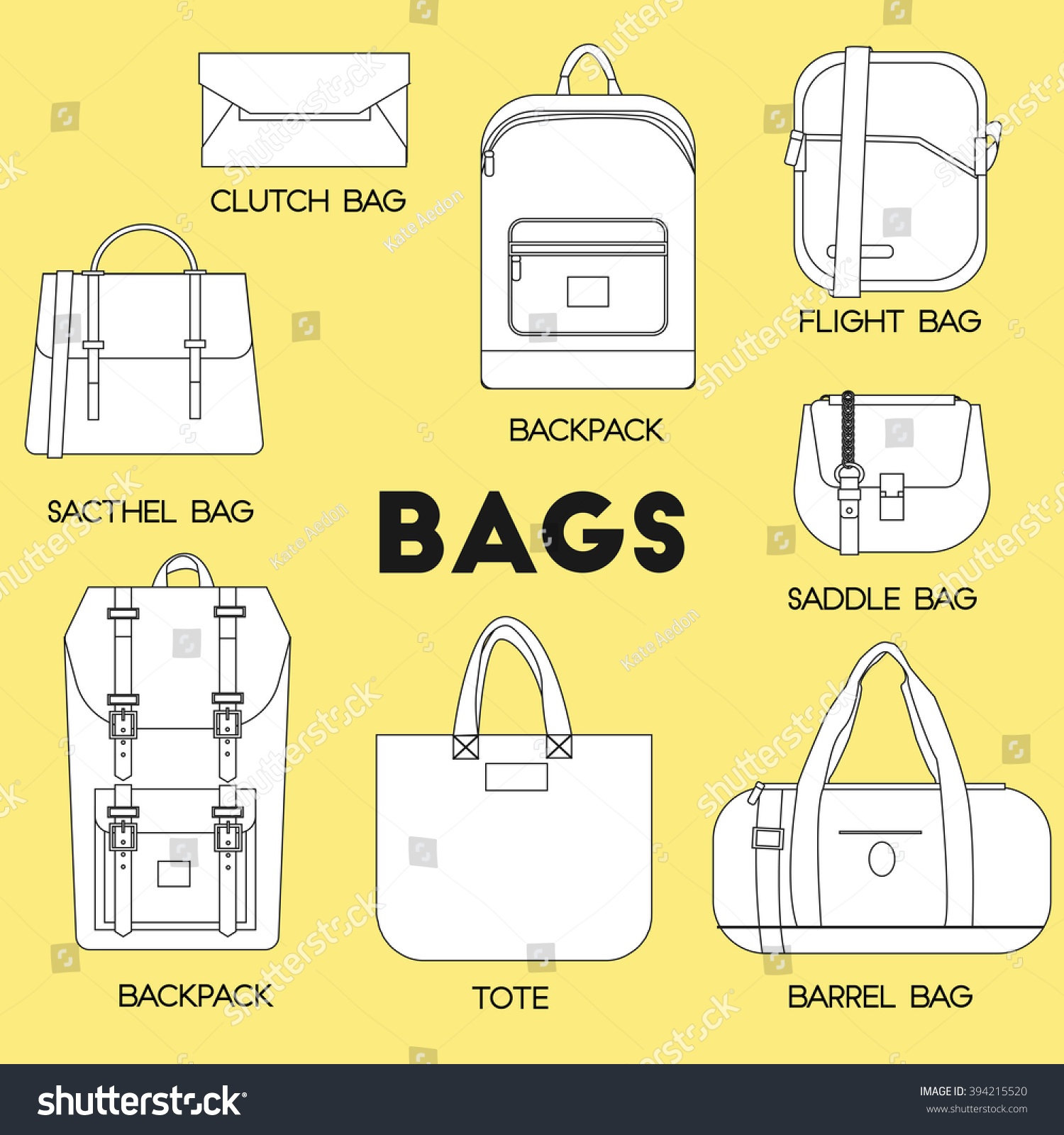 Bags set. Different kinds of bags and purses thin line icons. Flat vector  illustration 7f714805b2a6