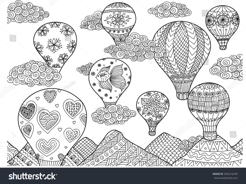 Sicak Hava Balonu Ucan Zentangle Yetiskin Stok Vektor Telifsiz