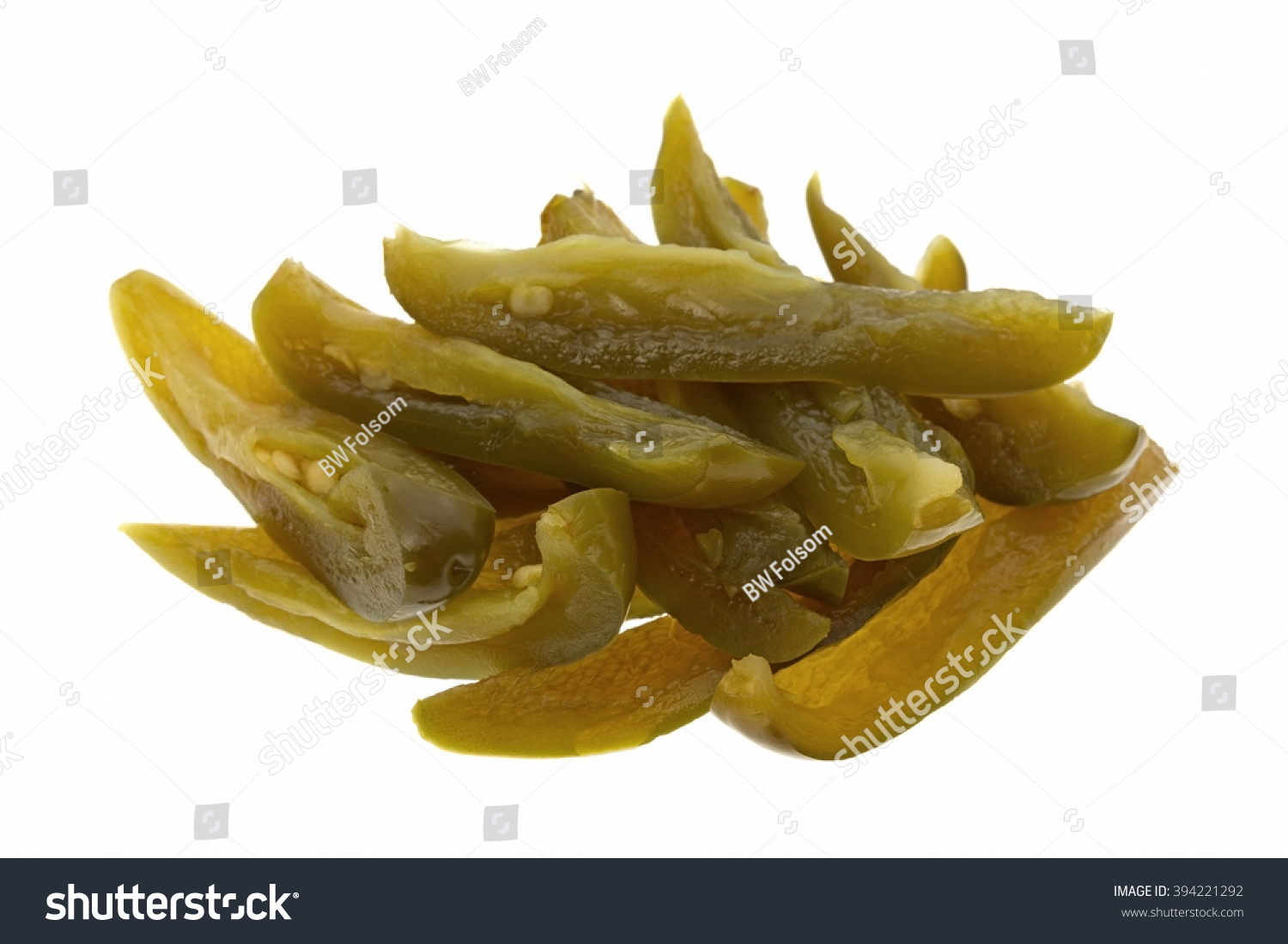 Side View Portion Canned Sliced Jalapeno Stock Photo ...