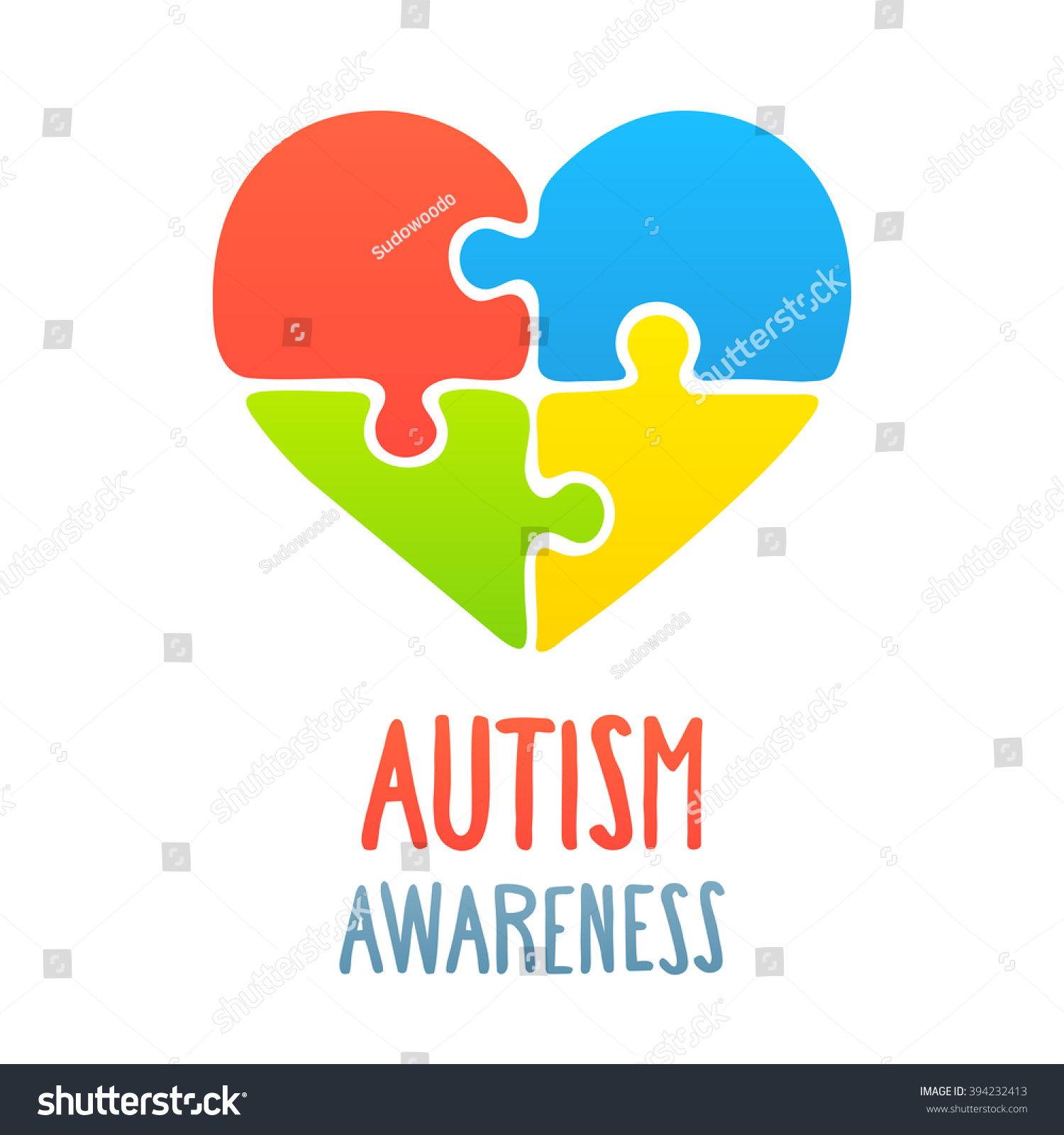 Autism Awareness Heart Jigsaw Puzzle Symbol Stock Vector Royalty