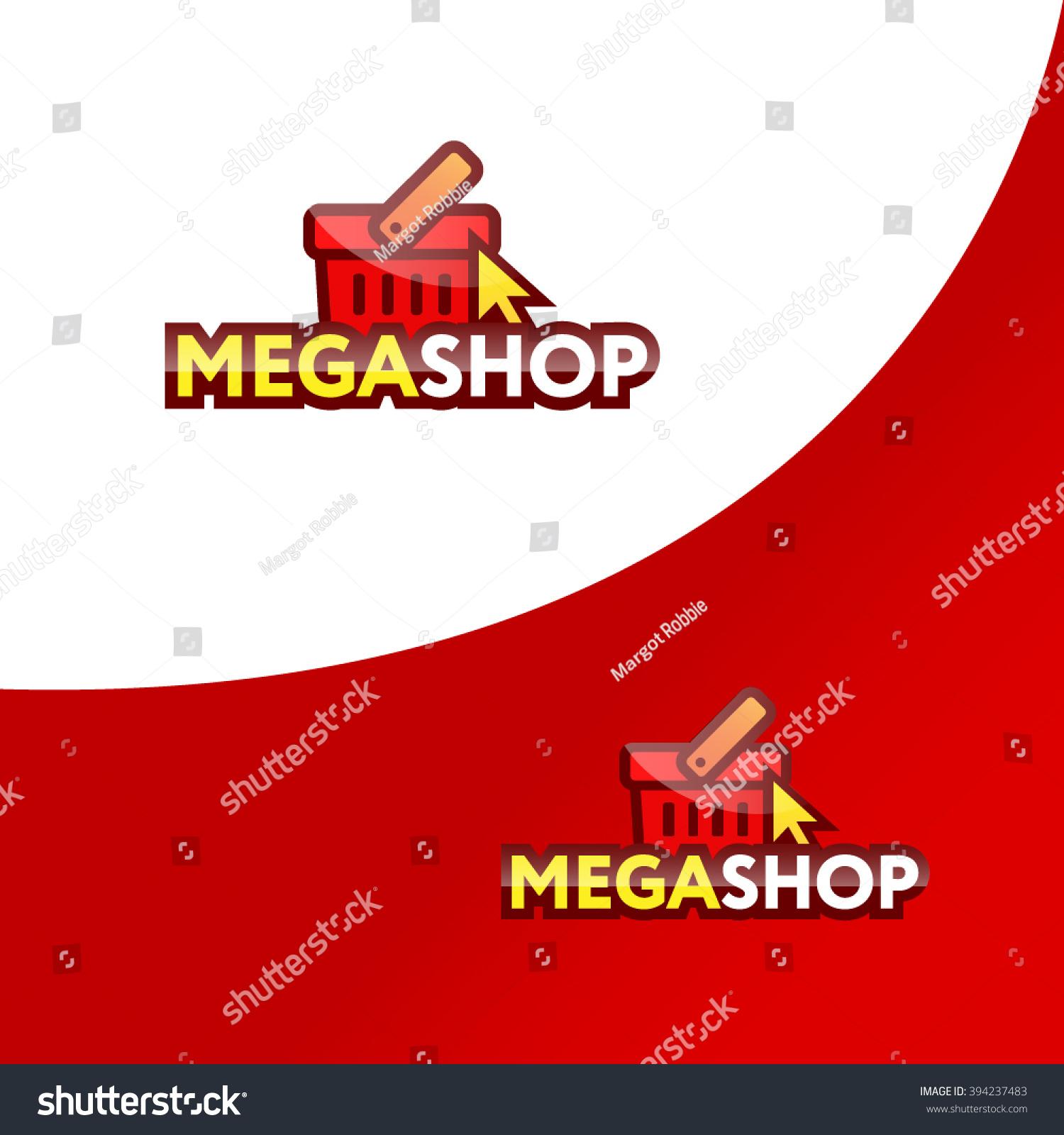 Online Shop Logo Template Shopping Basket Stock Vector Royalty Free